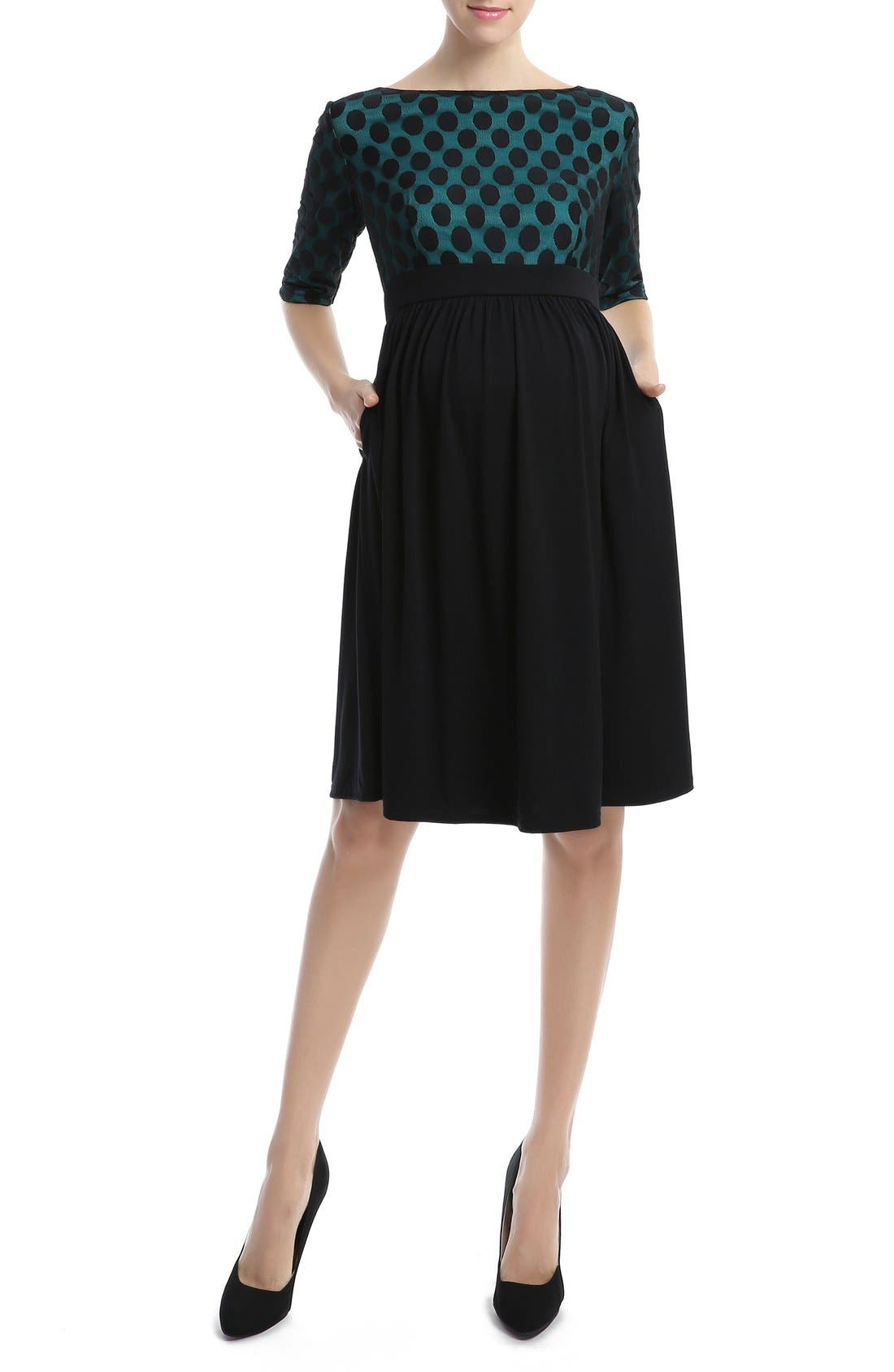 'Charlie' Maternity Dress,                         Main,                         color, Black/ Teal