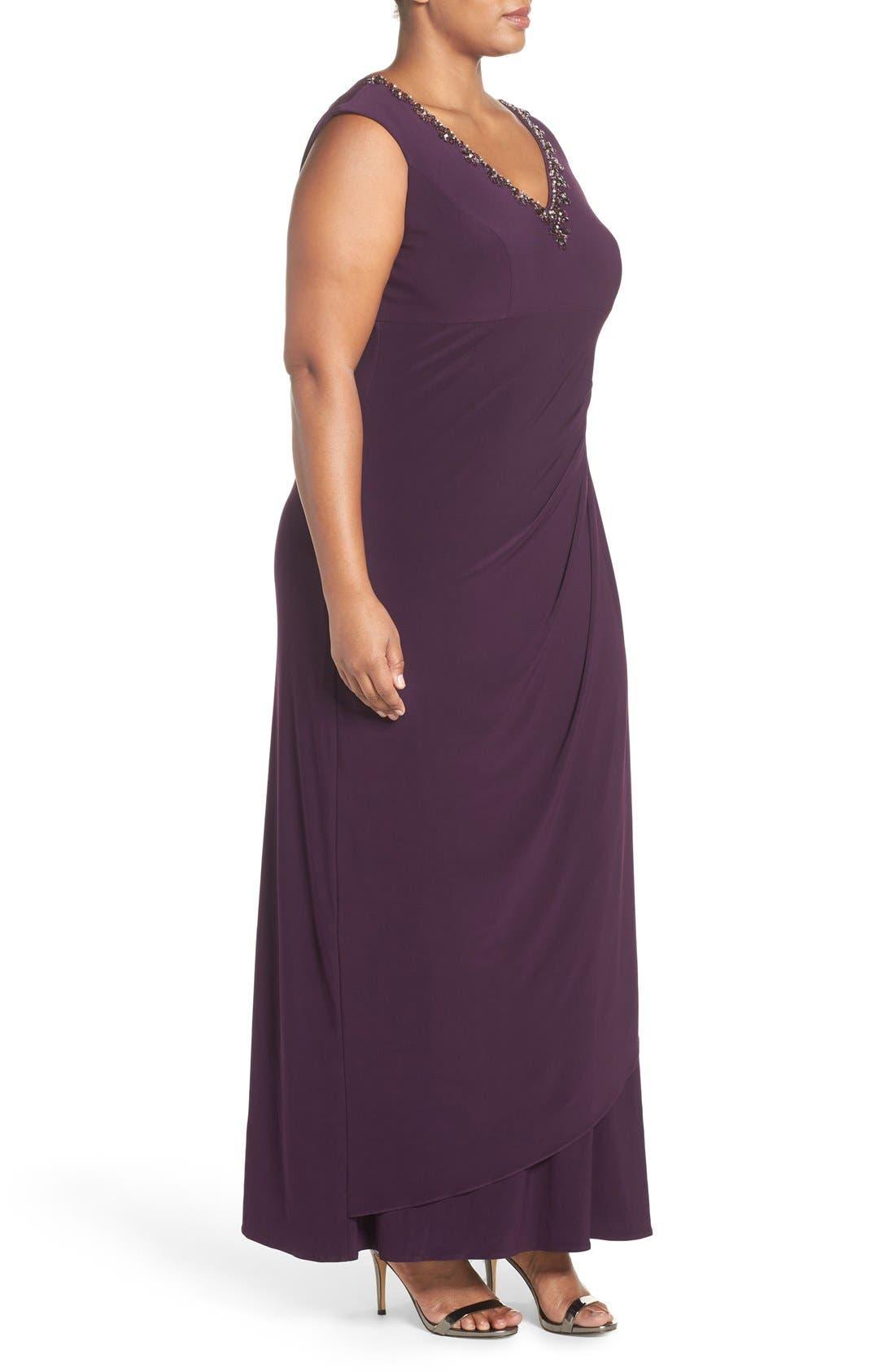 Embellished V-Neck Side Drape Jersey Gown,                             Alternate thumbnail 3, color,                             Eggplant