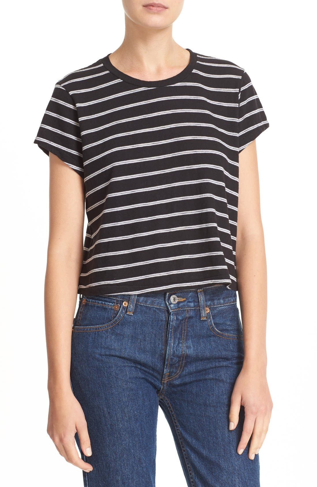 Alternate Image 1 Selected - Re/Done 'Originals' Stripe Boxy Cotton Tee