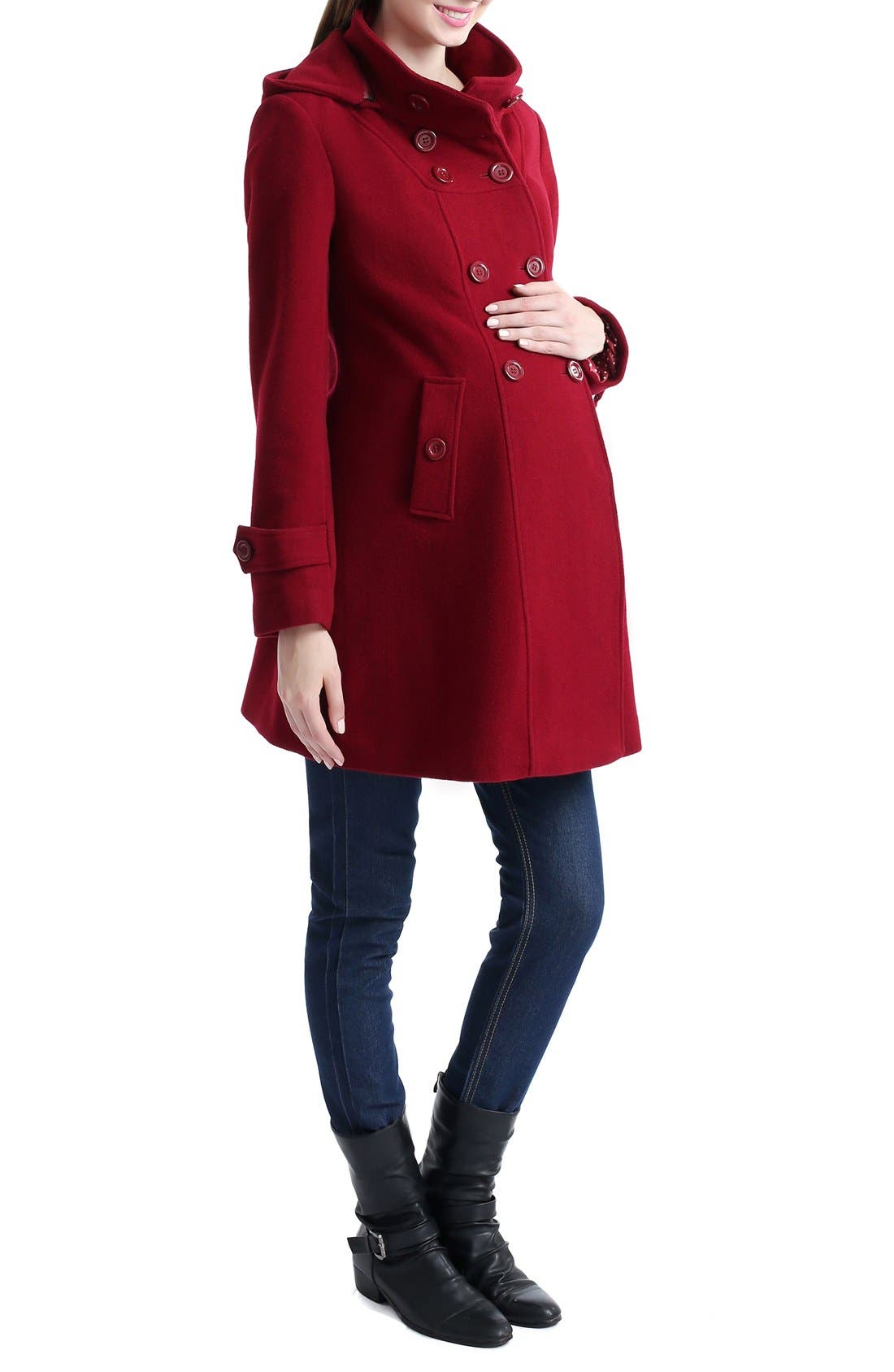 'Penelope' Maternity Trench Coat,                             Alternate thumbnail 3, color,                             Wine