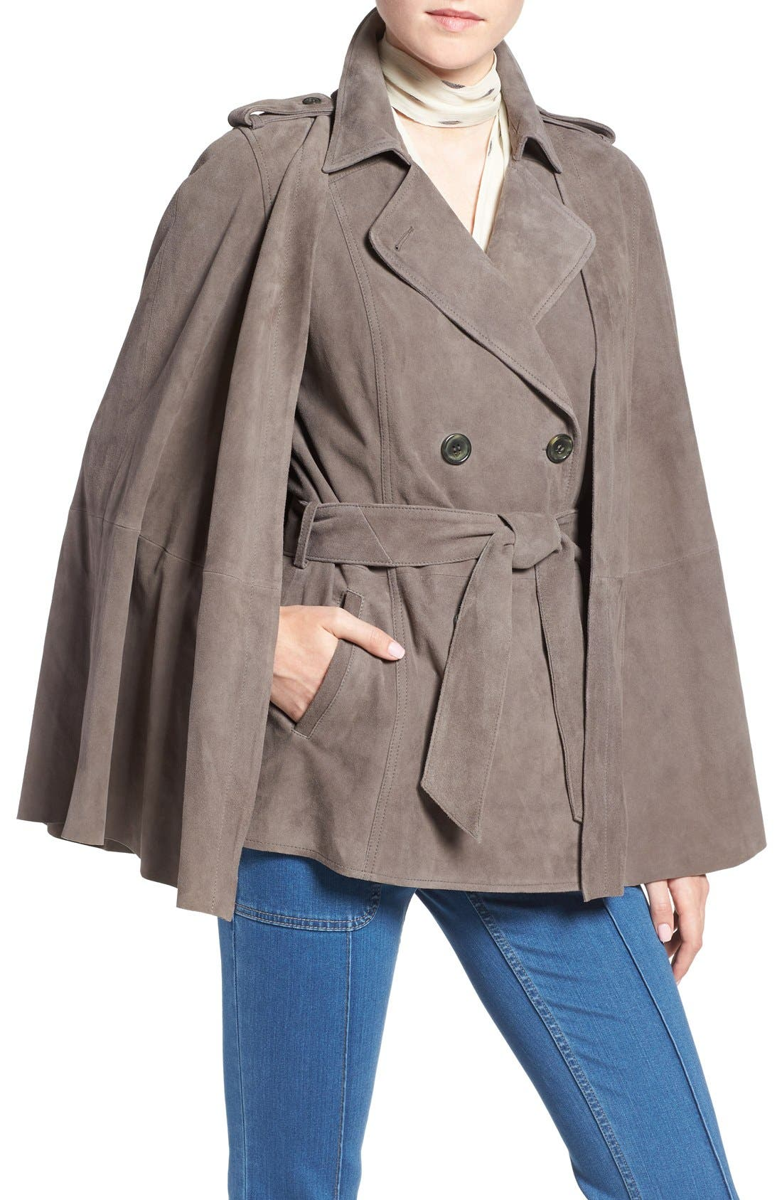 Main Image - Olivia Palermo + Chelsea28 Suede Trench Vest with Removable Cape