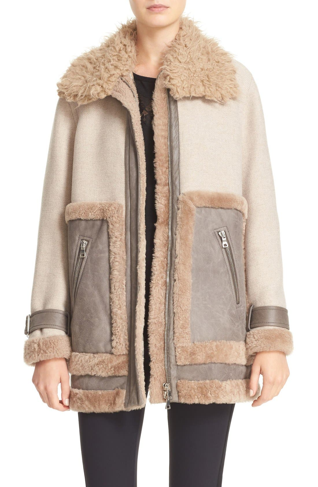 Alternate Image 1 Selected - Rebecca Taylor Genuine & Faux Shearling Mixed Media Coat