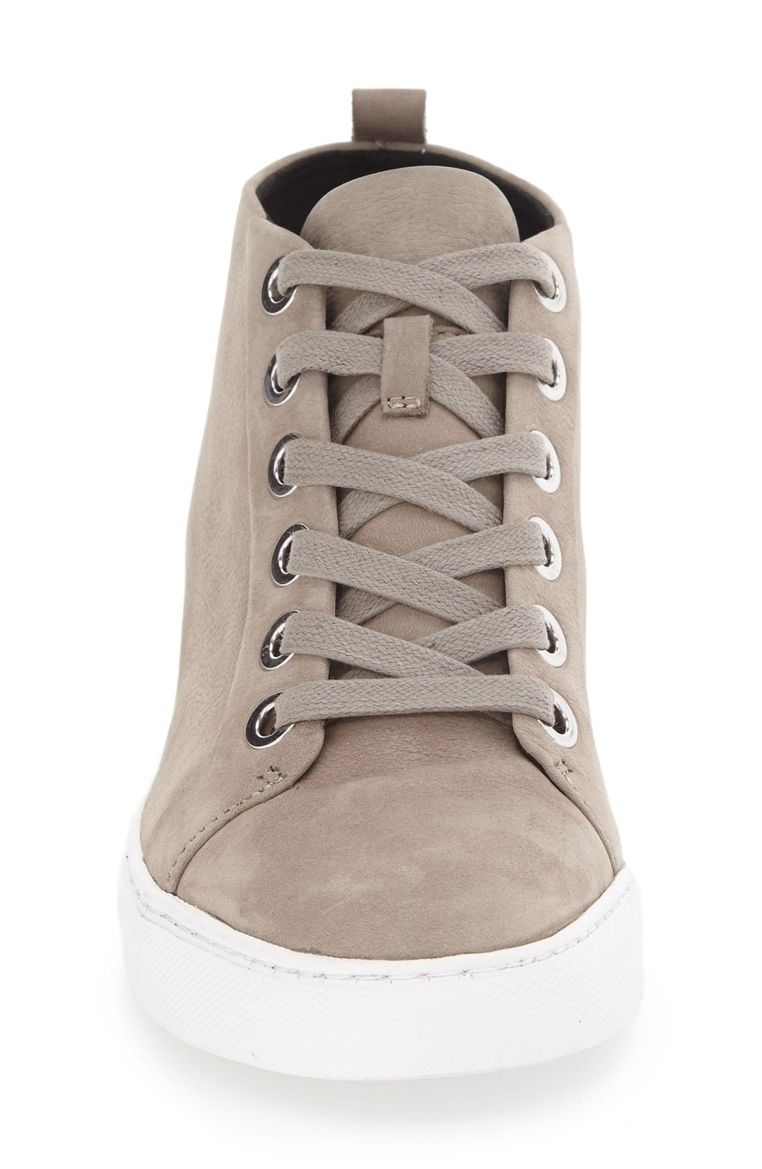 'Kaleb' High Top Sneaker,                             Alternate thumbnail 3, color,                             Cloud Nubuck Leather