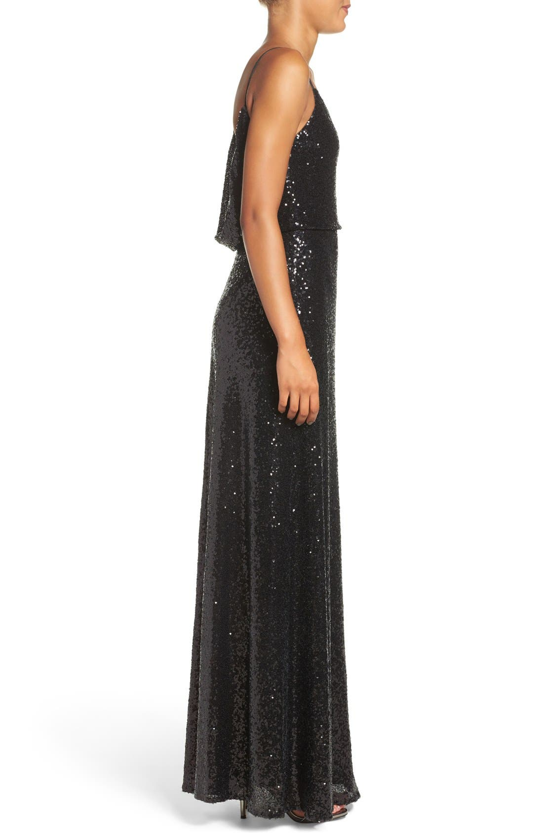 Alternate Image 3  - Jenny Yoo 'Jules' Sequin Blouson Gown with Detachable Back Cowl