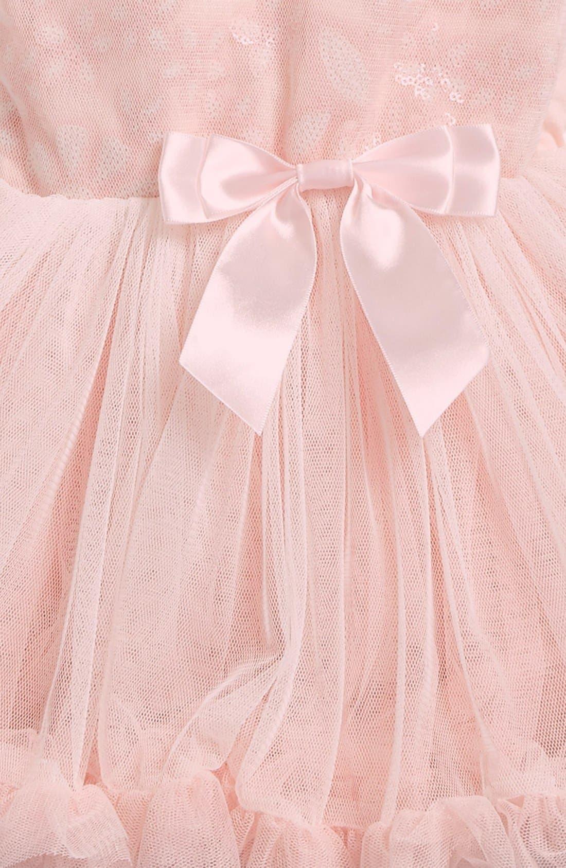 Alternate Image 2  - Popatu Floral Sequin Pettidress (Baby Girls)