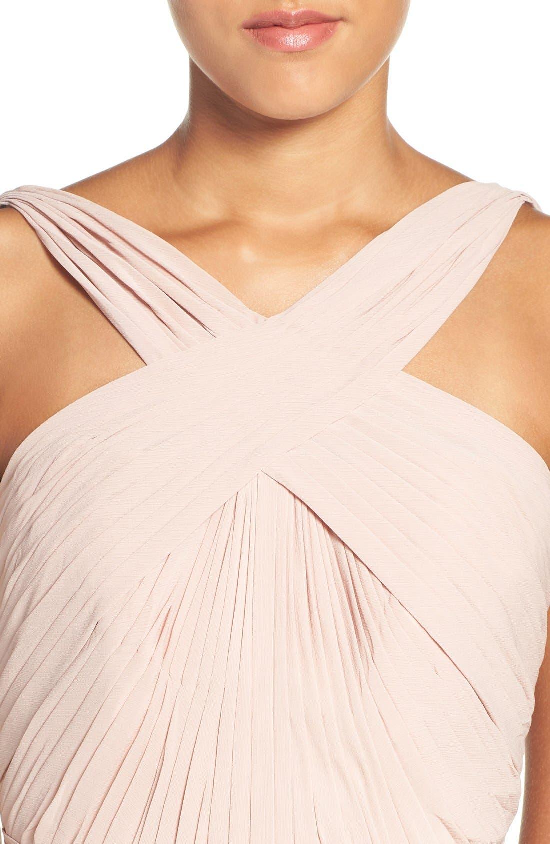'Micah' Crisscross Neck A-Line Chiffon Gown,                             Alternate thumbnail 4, color,                             Buff