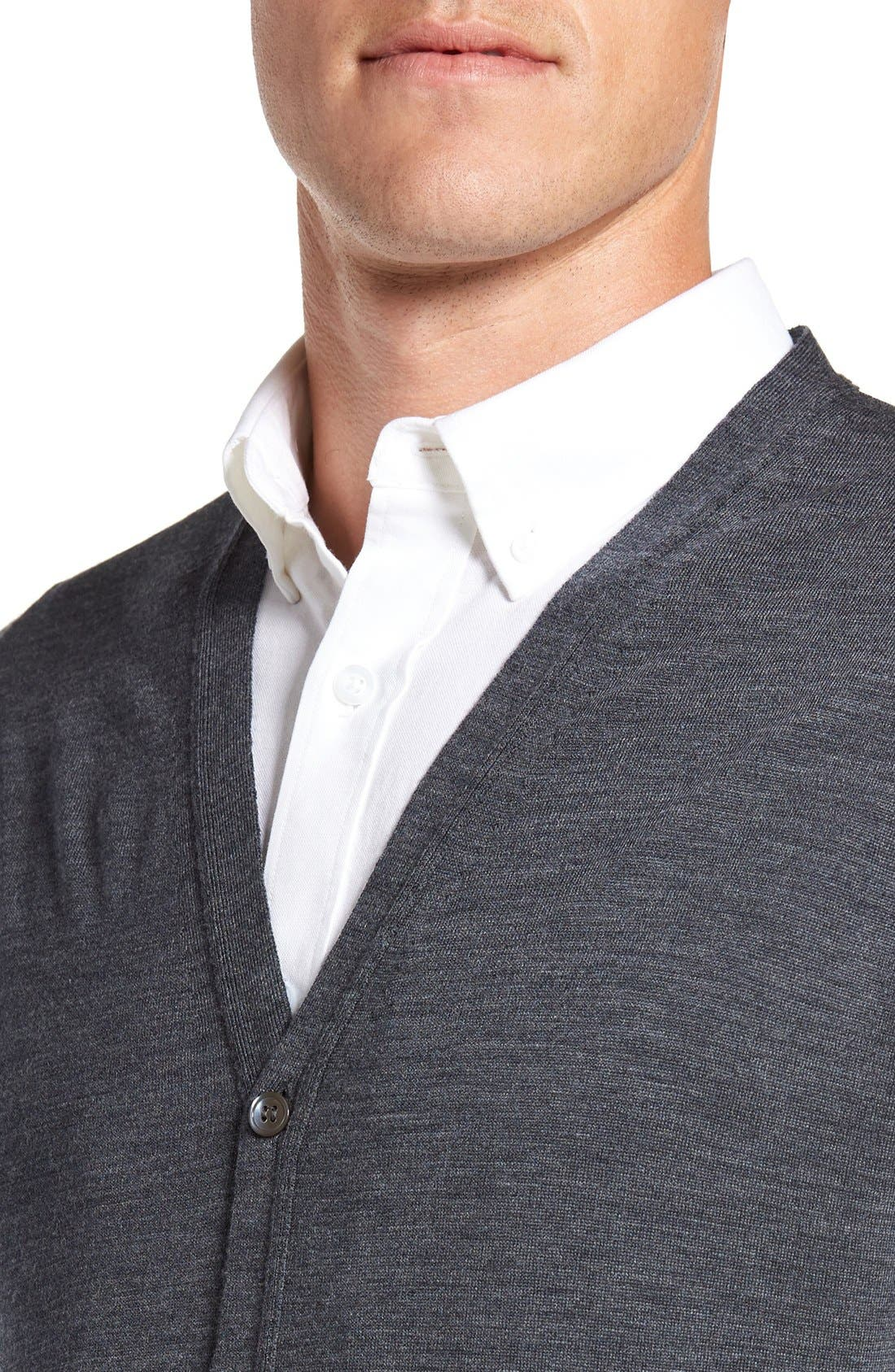 'Bryn' Easy Fit Wool Button Cardigan,                             Alternate thumbnail 4, color,                             Charcoal