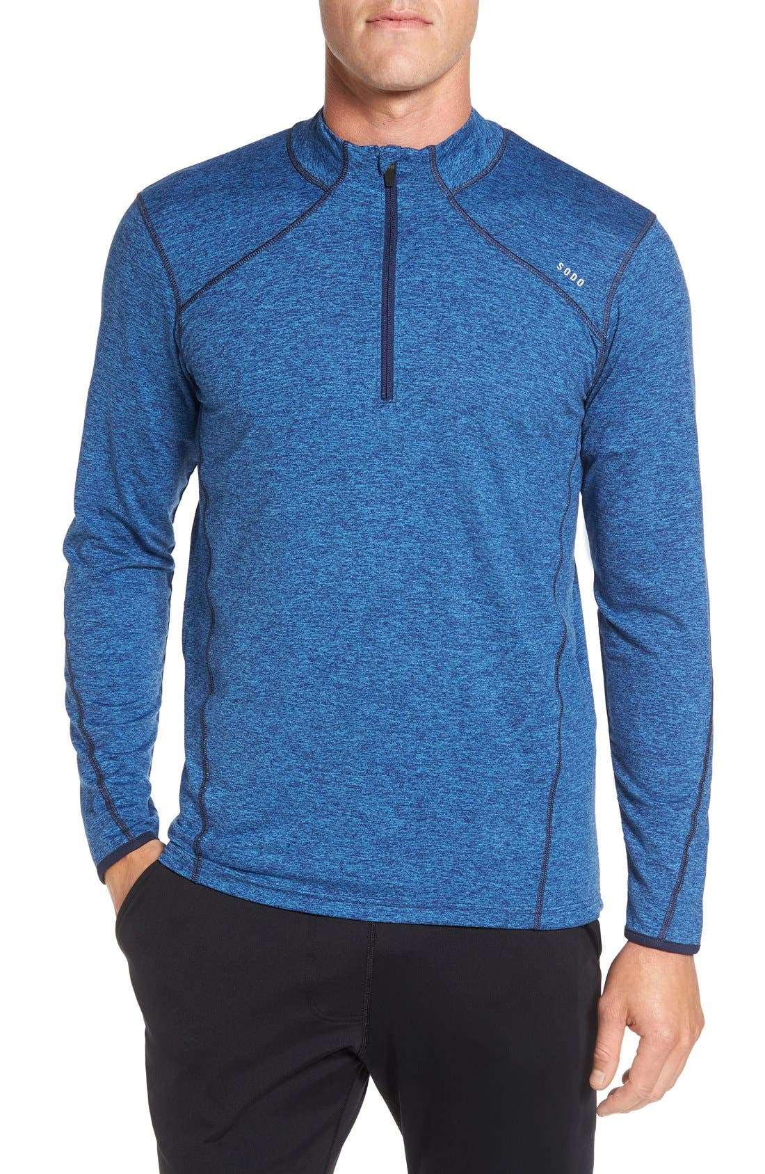 'Elevate' Moisture Wicking Stretch Quarter Zip Pullover,                             Main thumbnail 1, color,                             Ocean Blue/ Navy