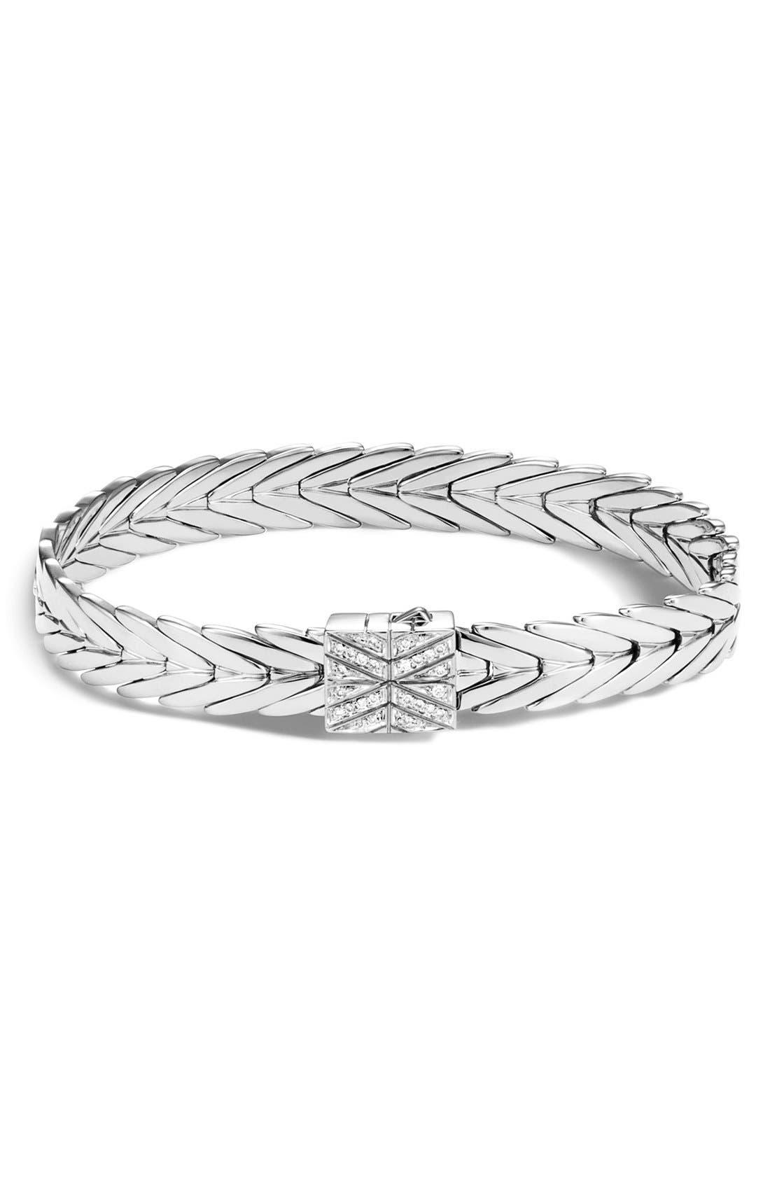 Modern Chain 8mm Bracelet,                             Alternate thumbnail 2, color,                             Silver/Diamond