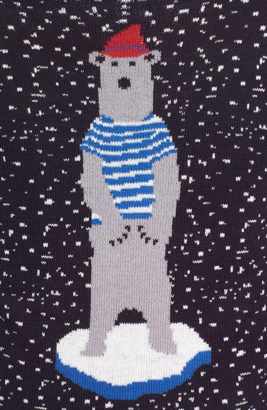 'Polar Ice Caps' Intarsia Crewneck Sweater,                             Alternate thumbnail 5, color,                             Graphite