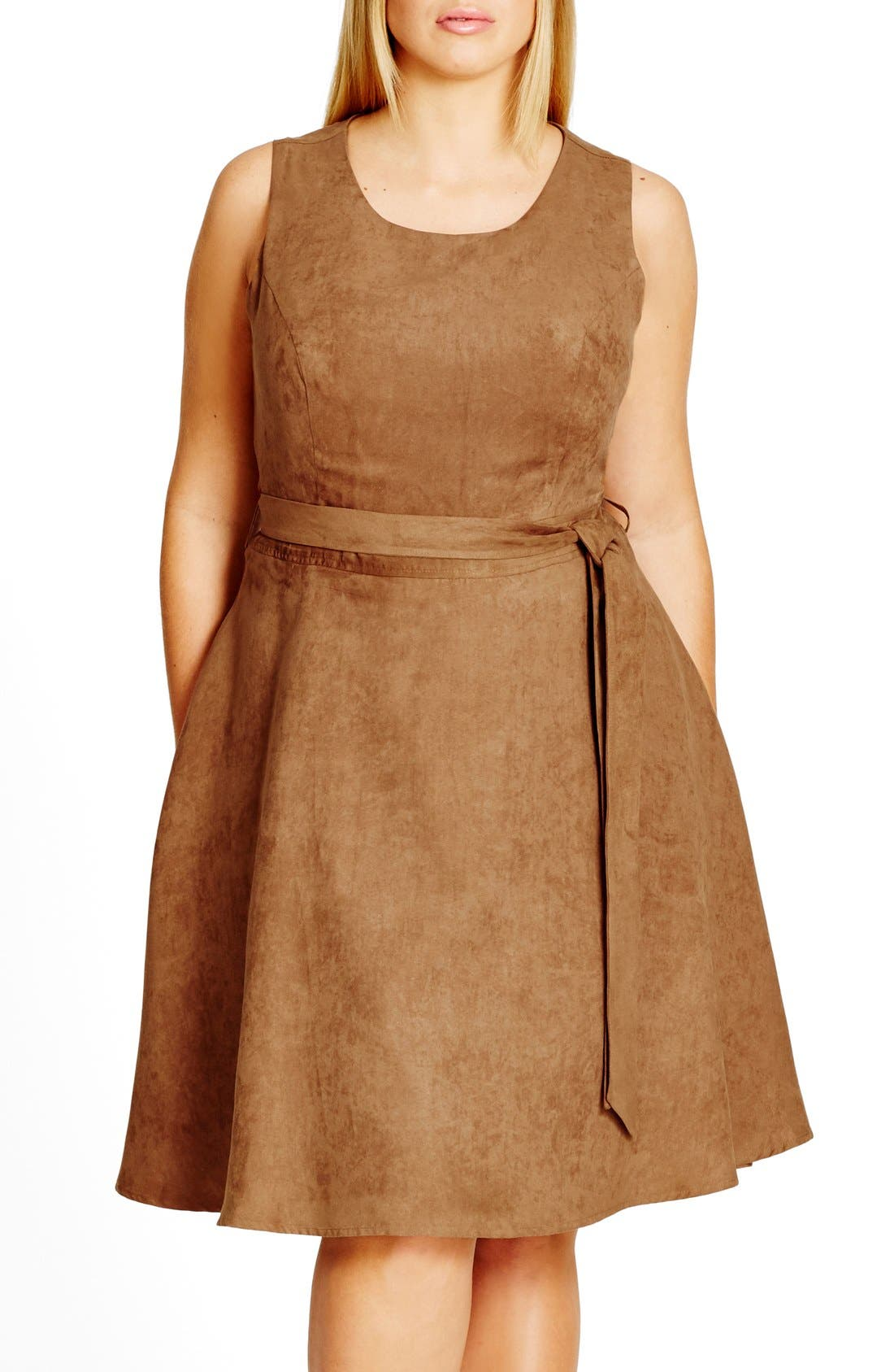 Faux Suede Fit & Flare Dress,                             Main thumbnail 1, color,                             Dark Caramel