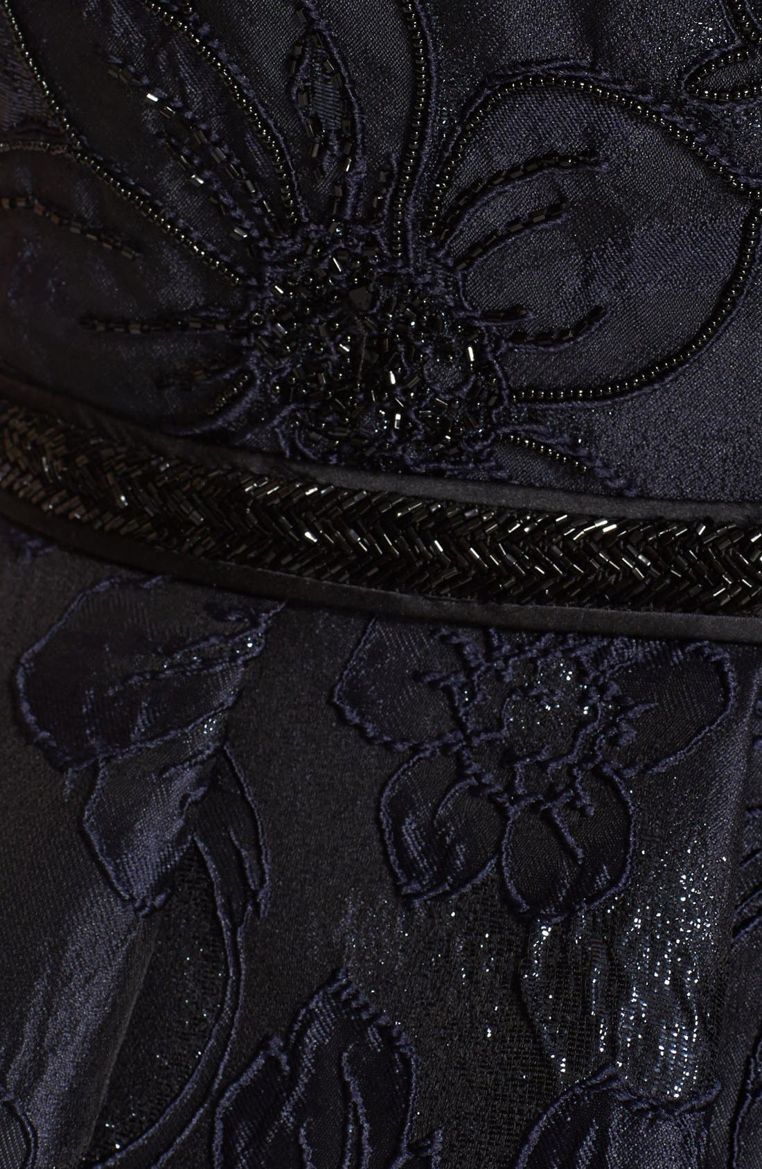 Illusion Yoke Embroidered Jacquard A-Line Gown,                             Alternate thumbnail 3, color,                             Midnight
