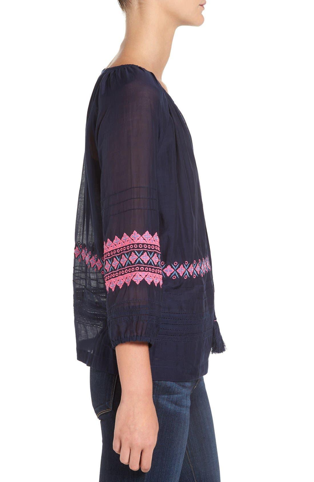 Alternate Image 3  - Vineyard Vines Embroidered Cotton & Silk Peasant Top