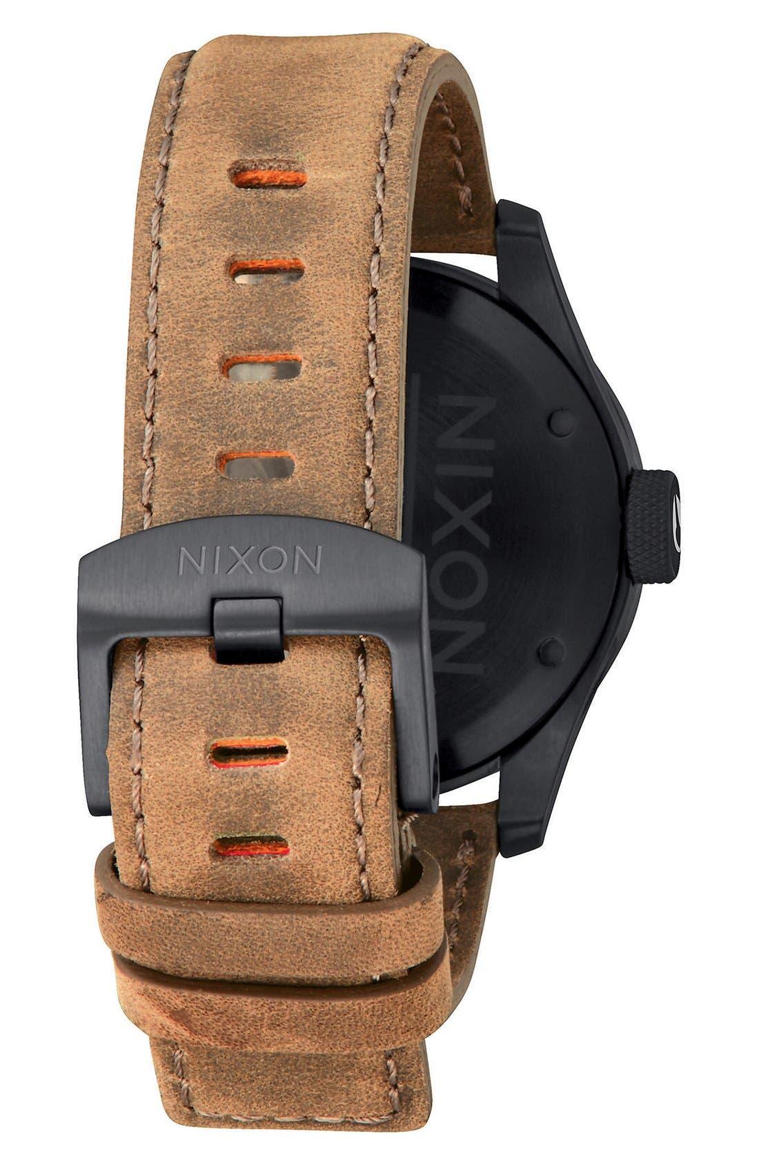 'Safari' Leather Strap Watch, 43mm,                             Alternate thumbnail 2, color,                             Brown/ Black