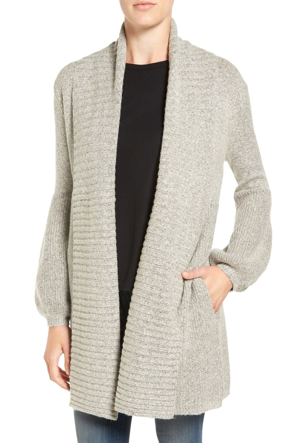 Ribbed Cardigan,                         Main,                         color, Grey Chime Heather
