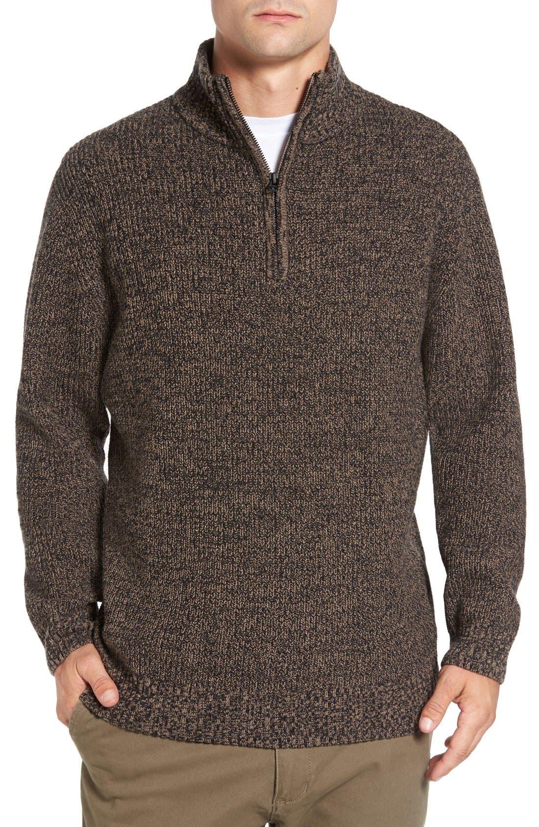 'Woodglen' Herringbone Knit Lambswool Quarter Zip Sweater,                             Main thumbnail 1, color,                             Walnut