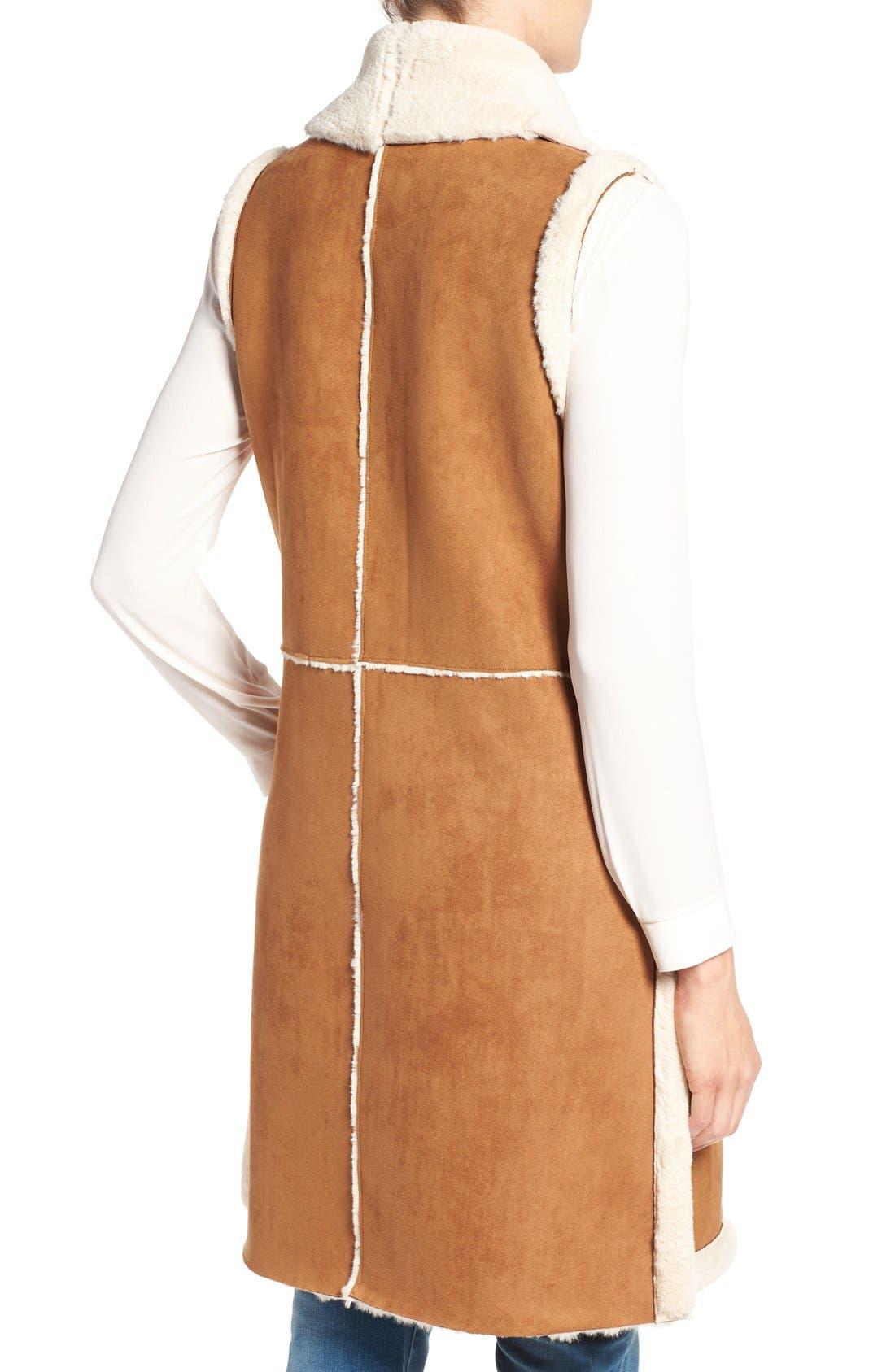 Long Faux Shearling Vest,                             Alternate thumbnail 2, color,                             Cognac