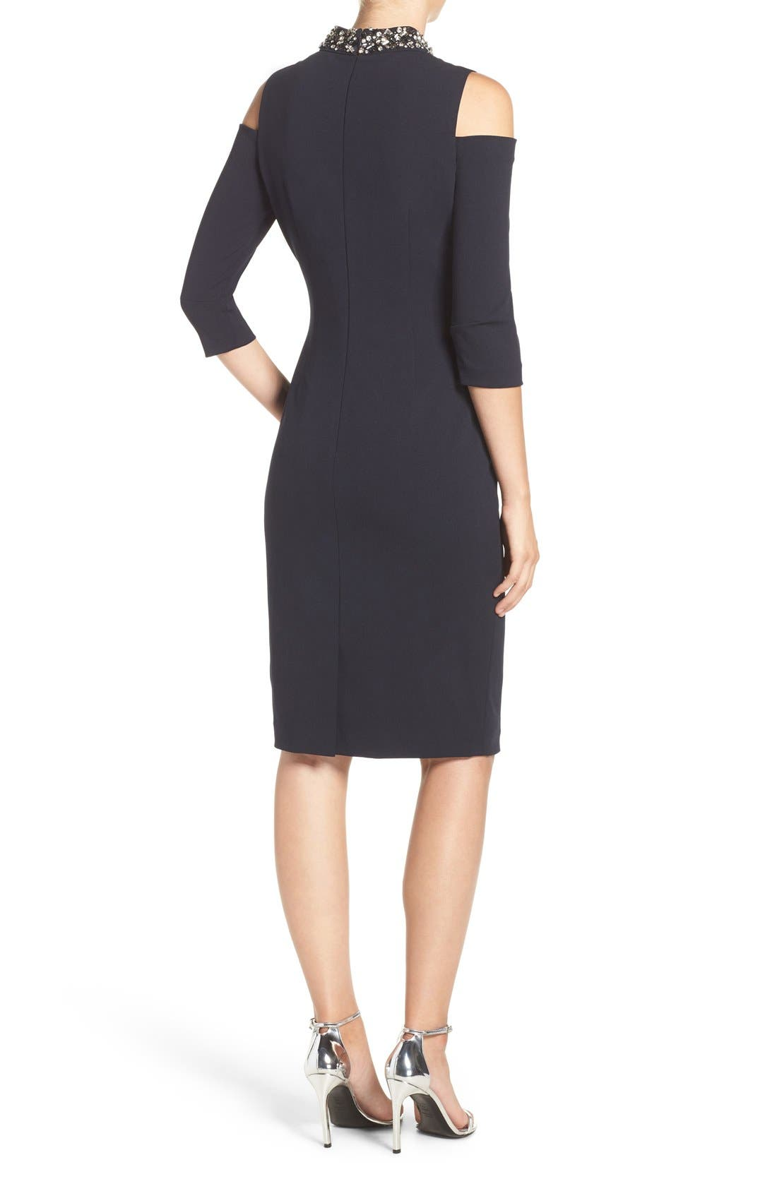 Alternate Image 2  - Eliza J Embellished Stretch Sheath Dress (Regular & Petite)