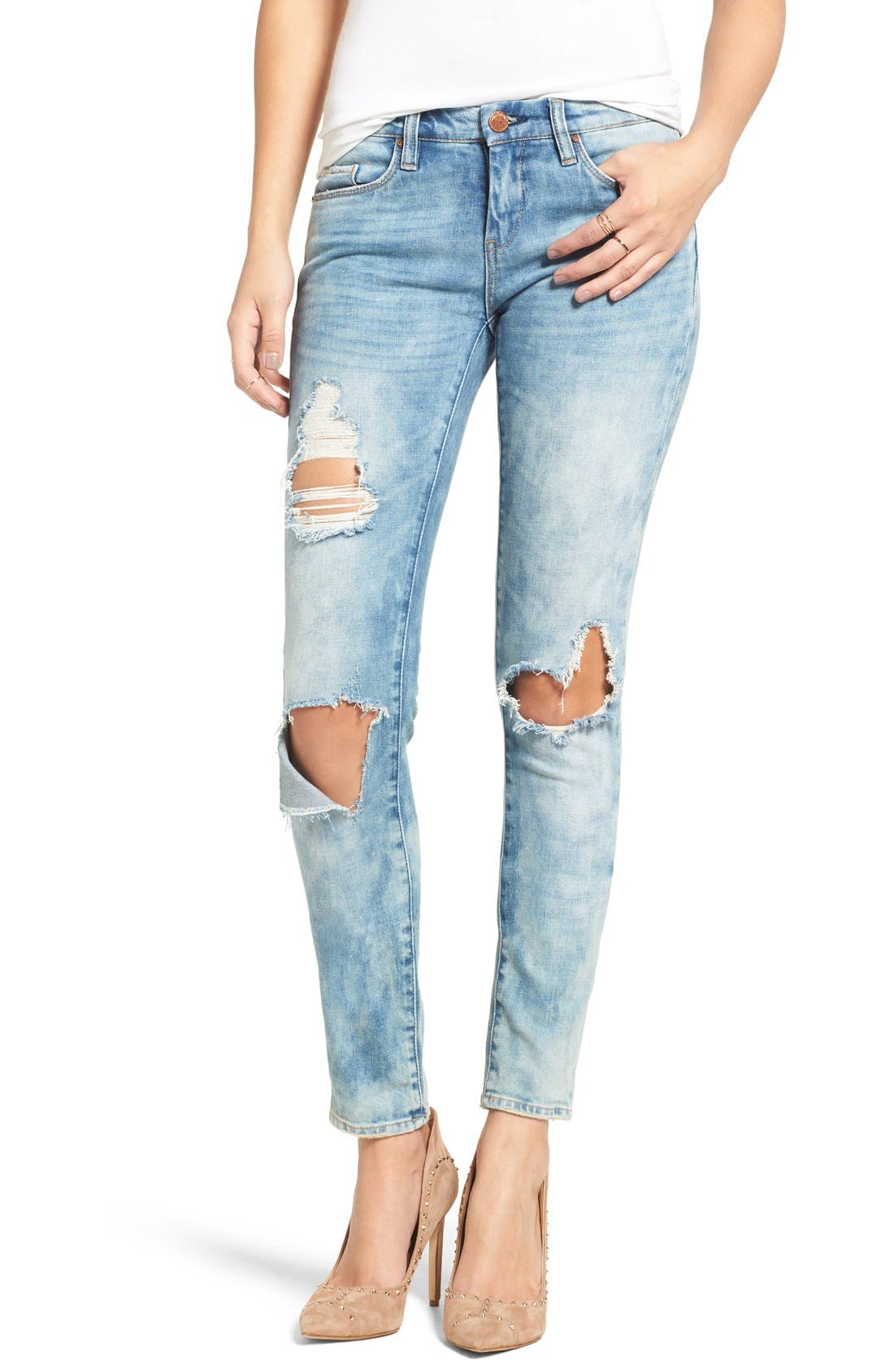 Good Vibes Distressed Skinny Jeans,                             Main thumbnail 1, color,                             Medium Wash Blue