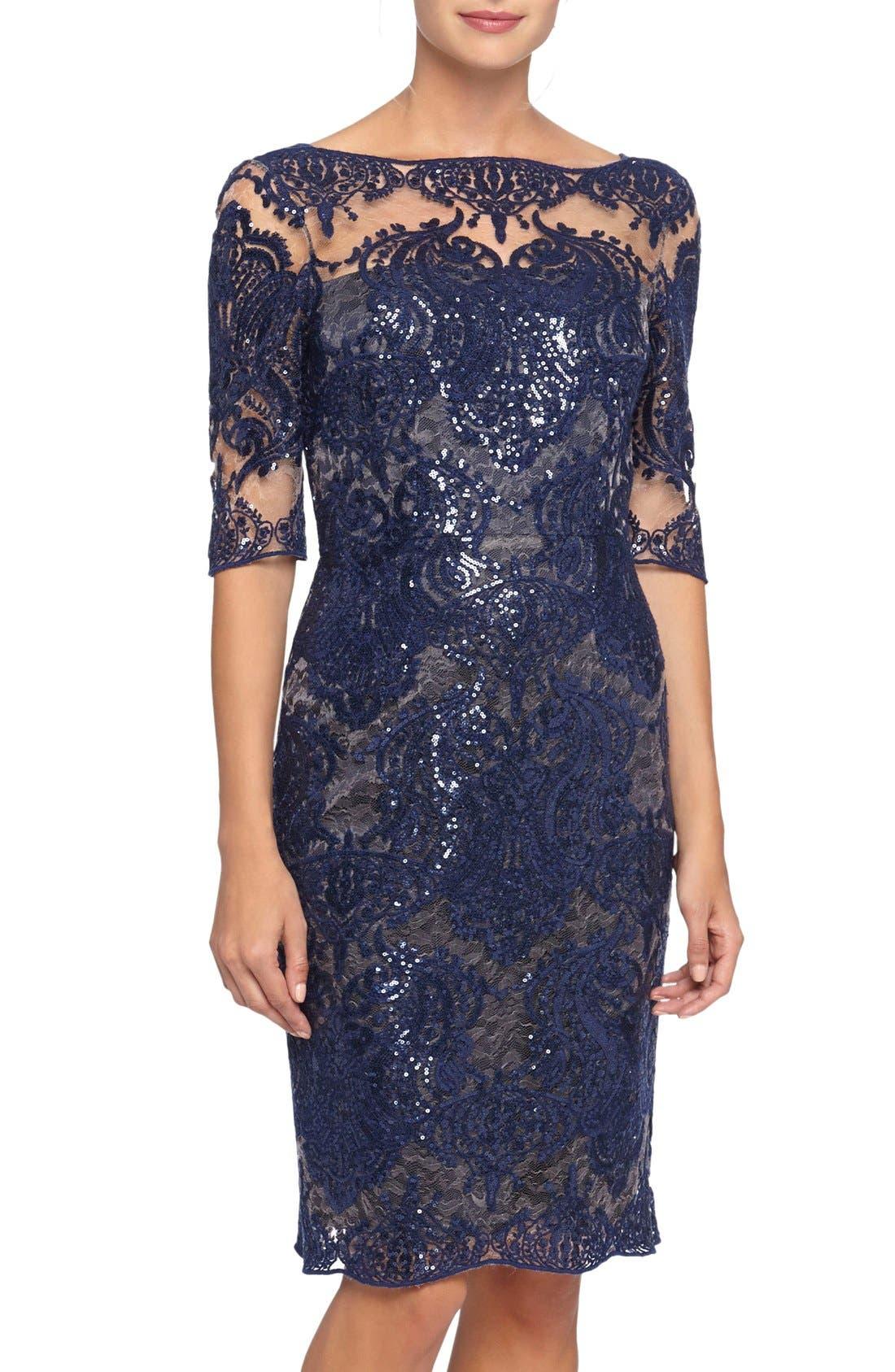 Alternate Image 1 Selected - Tahari Sequin Lace Sheath Dress