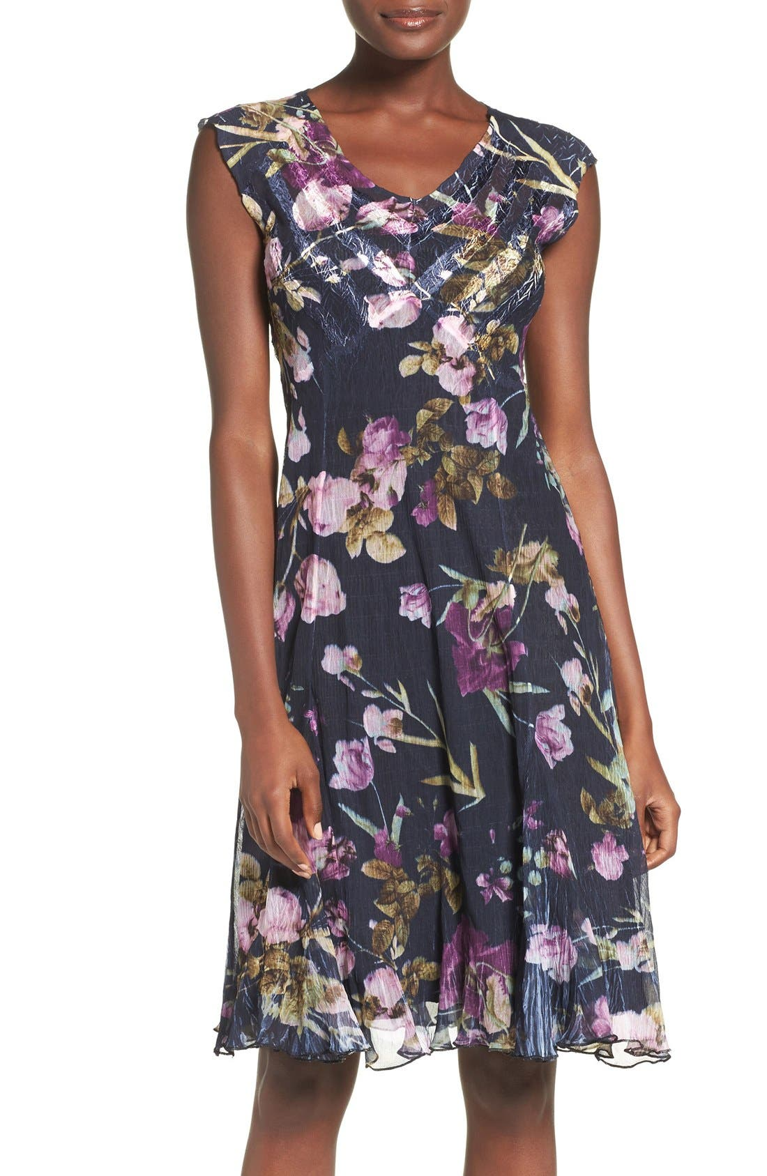 Floral Print Chiffon A-Line Dress,                             Main thumbnail 1, color,                             Orchid Plum