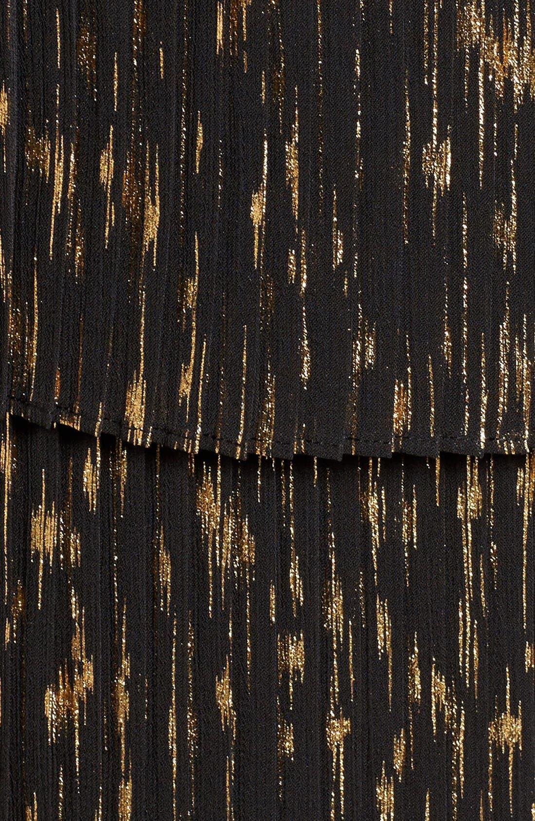 Tie Neck Blouse,                             Alternate thumbnail 6, color,                             Black- Gold Foil Combo