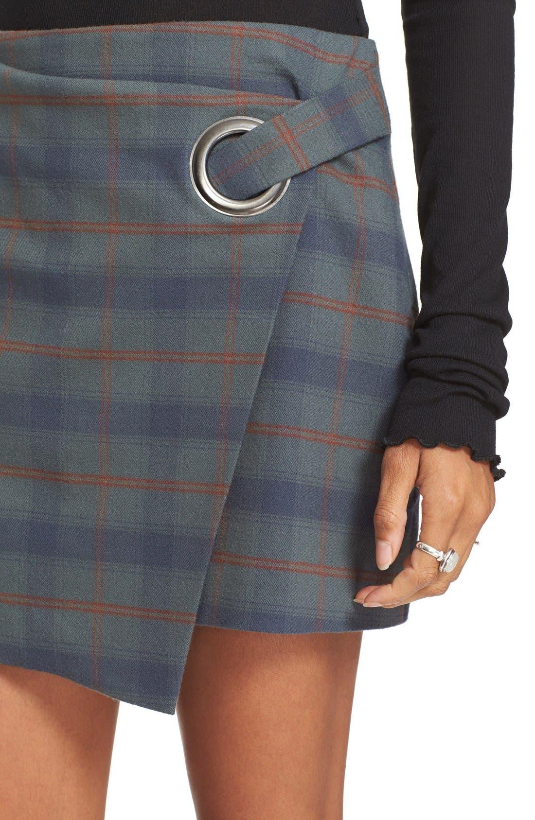 Alternate Image 4  - Free People Teenage Crush Plaid Miniskirt