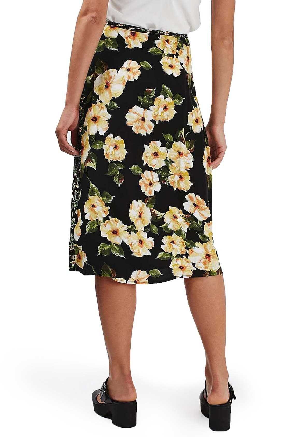 Alternate Image 3  - Topshop 'Busy Garden' Floral Print Wrap Midi Skirt