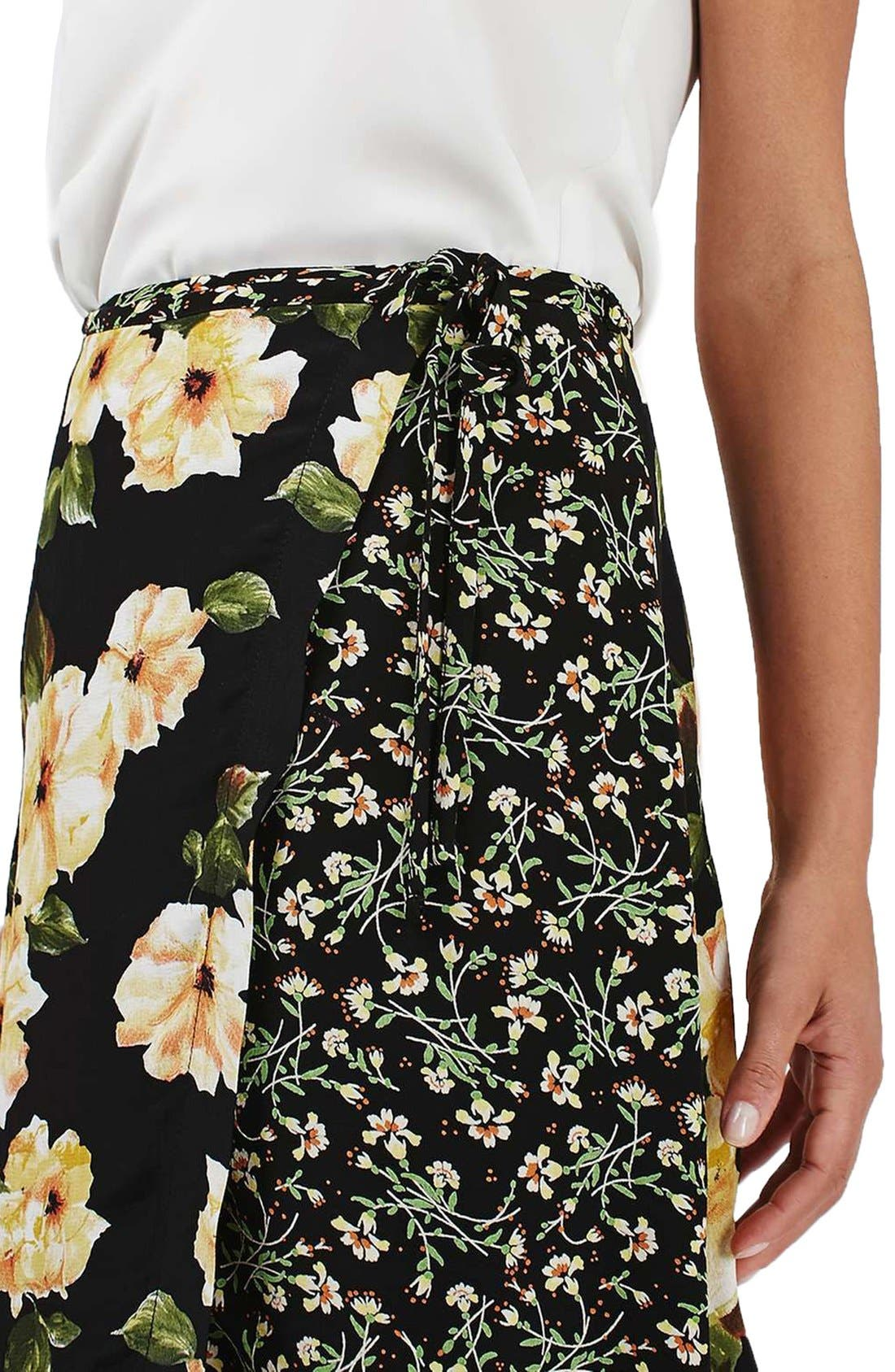 Alternate Image 5  - Topshop 'Busy Garden' Floral Print Wrap Midi Skirt