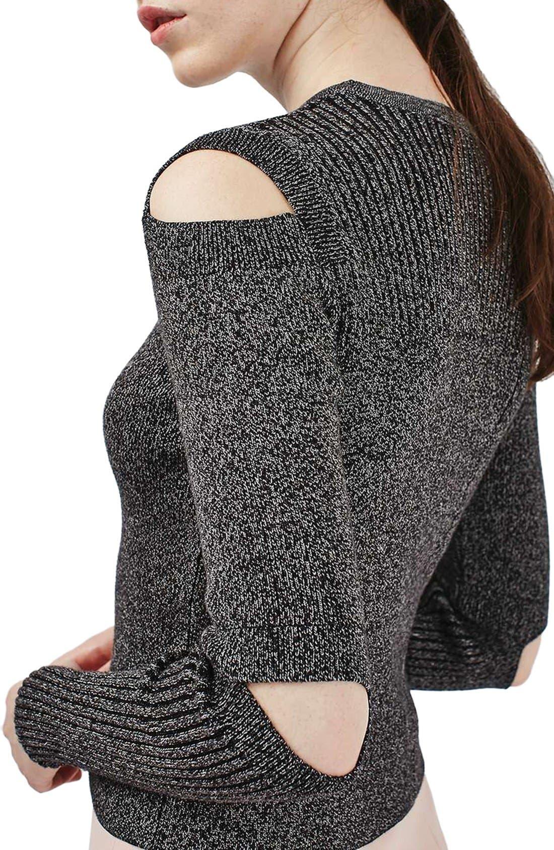 Alternate Image 4  - Topshop Slash Sleeve Marled Sweater