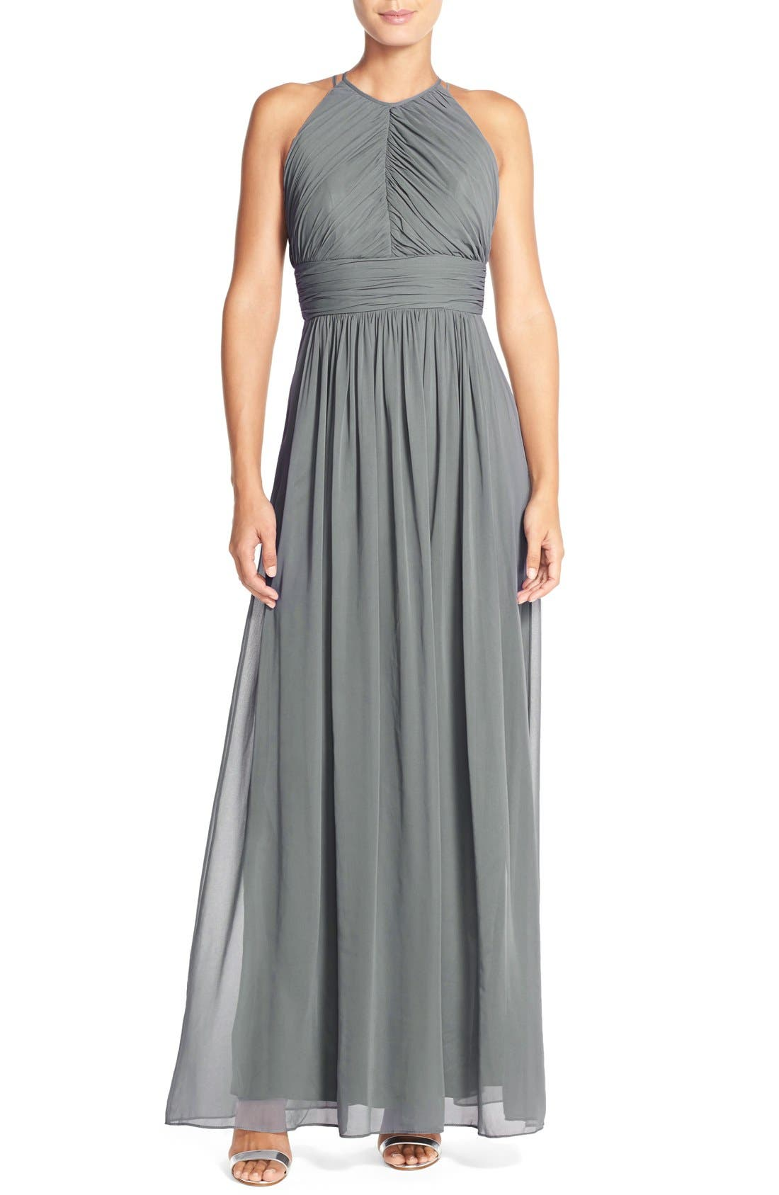 Main Image - Dessy Collection Ruched Chiffon Open Back Halter Gown