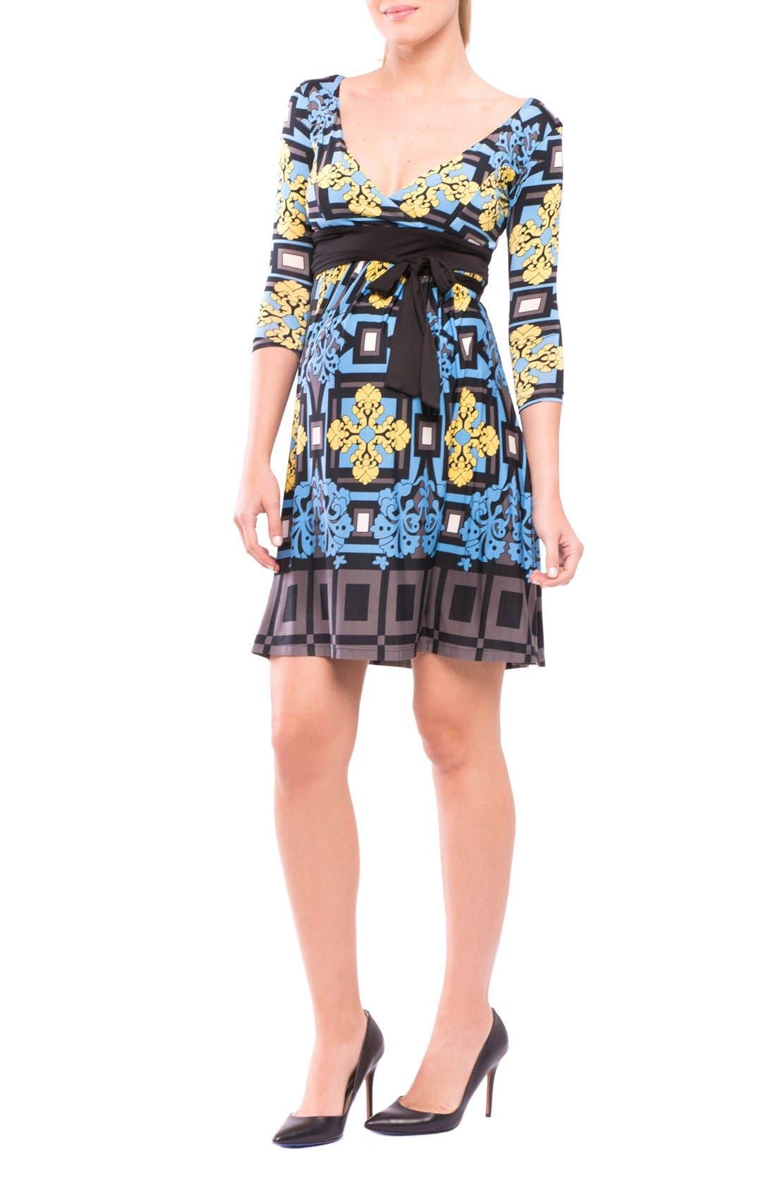 Jennifer Maternity Dress,                         Main,                         color, Gray/ Blue/ Black