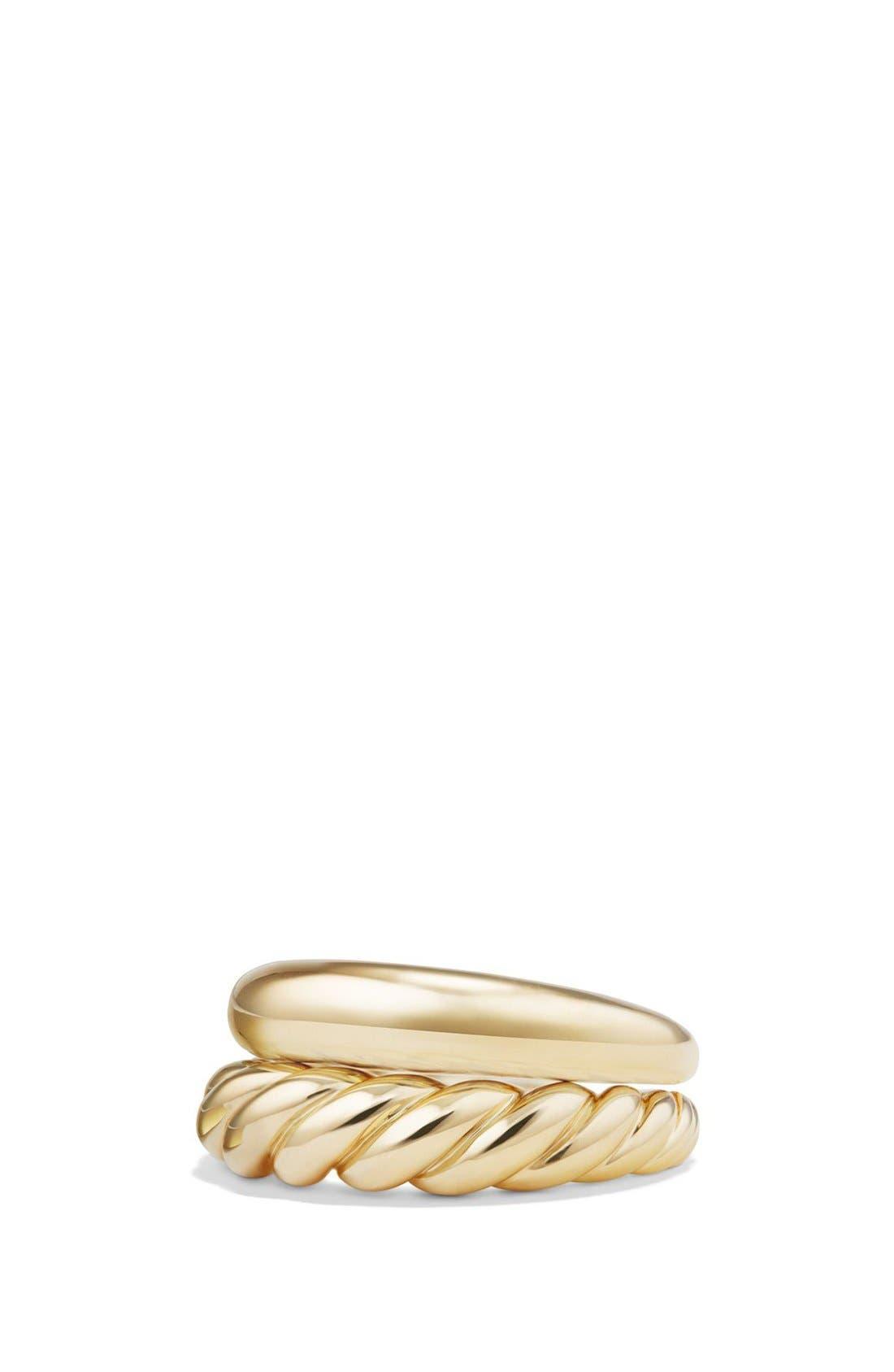 Alternate Image 1 Selected - David Yurman 'Pure Form' Stack Rings in 18K Gold