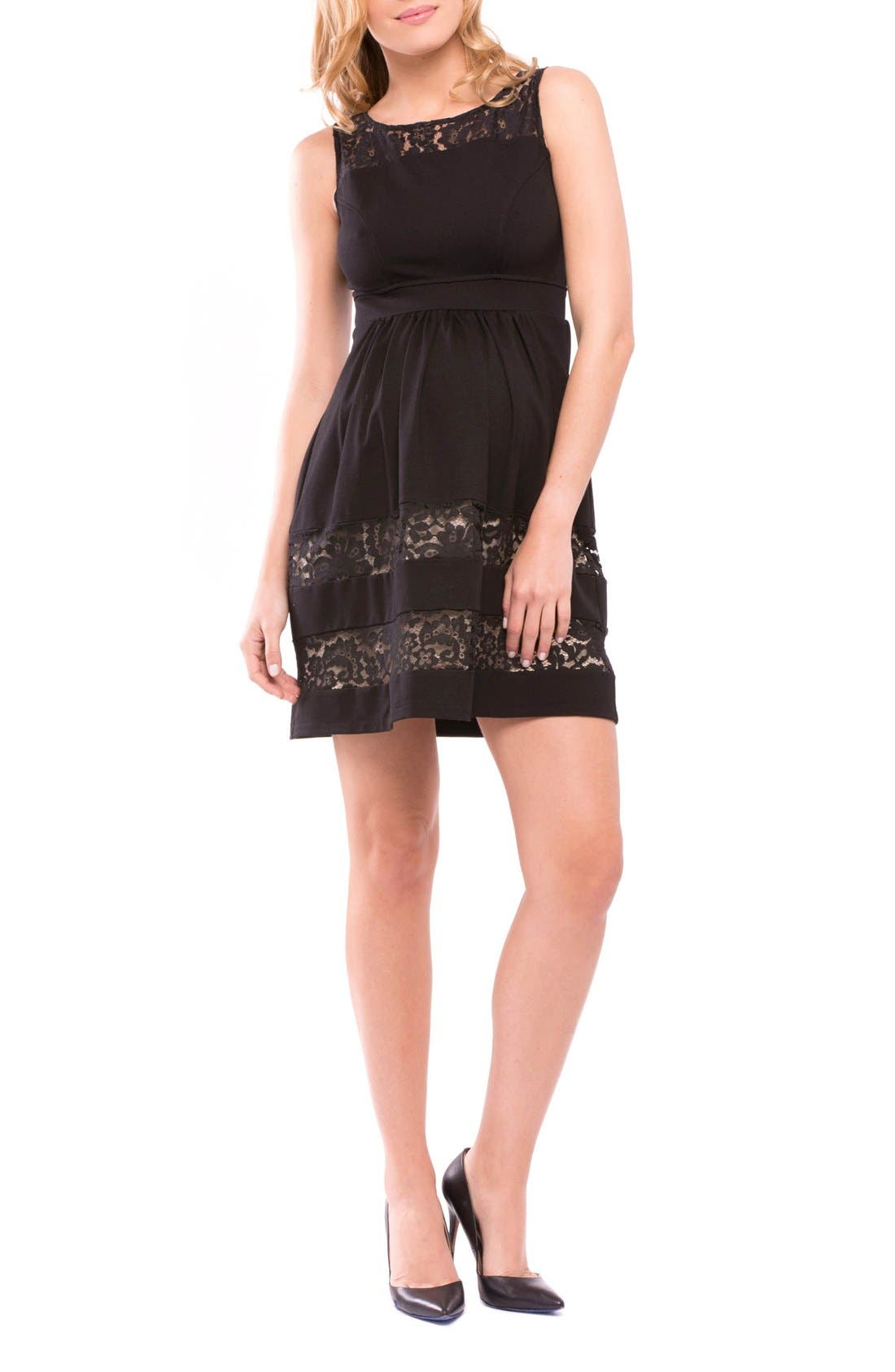 Caroline Maternity Cocktail Dress,                         Main,                         color, Black