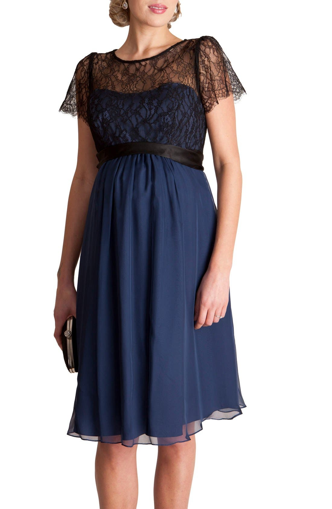 Alternate Image 3  - Seraphine 'Genevieve Luxe' Sleeveless Lace & Silk Maternity Dress