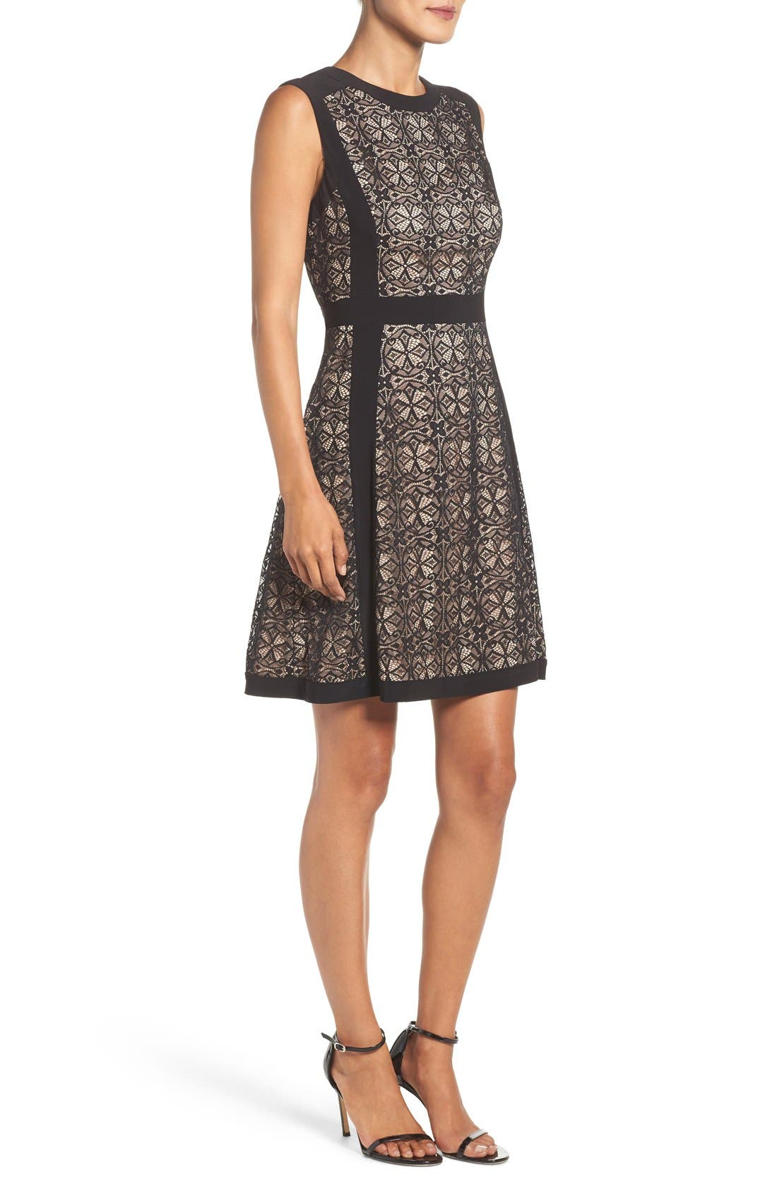 Alternate Image 3  - Adrianna Papell Lace Fit & Flare Dress (Regular & Petite)