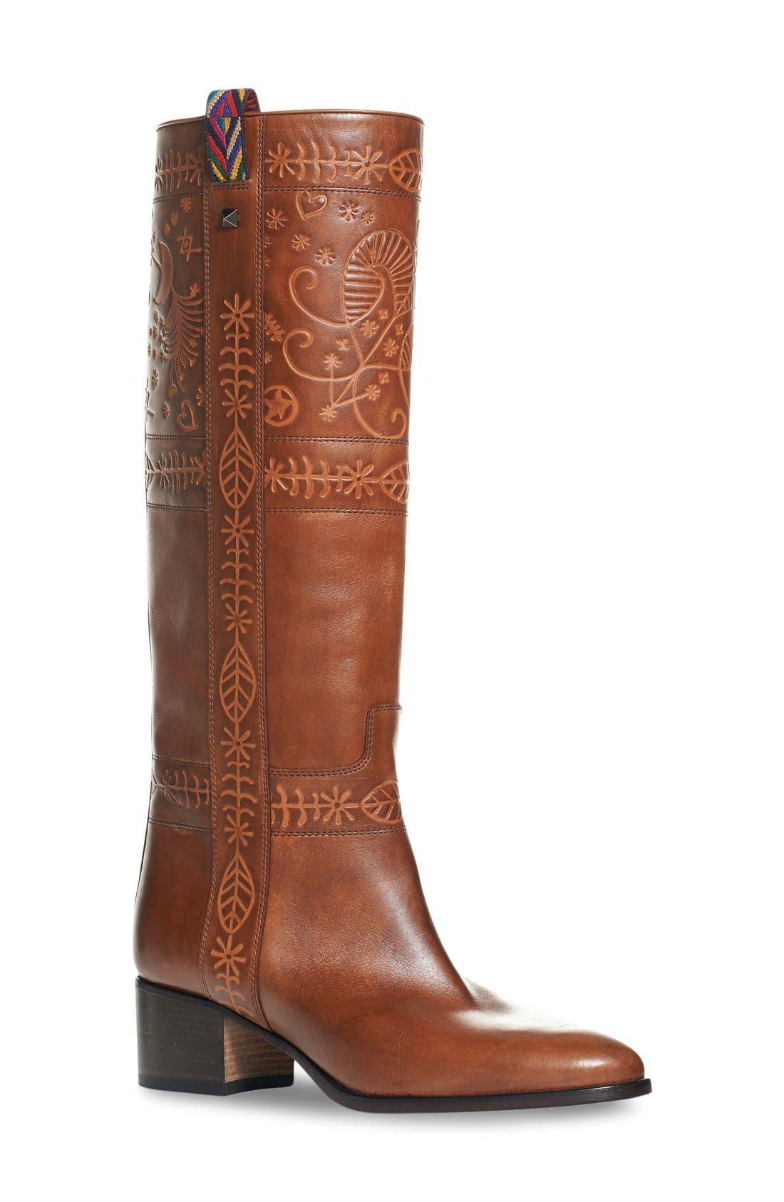 Alternate Image 1 Selected - Valentino 'Rockstud' Embossed Boot (Women)