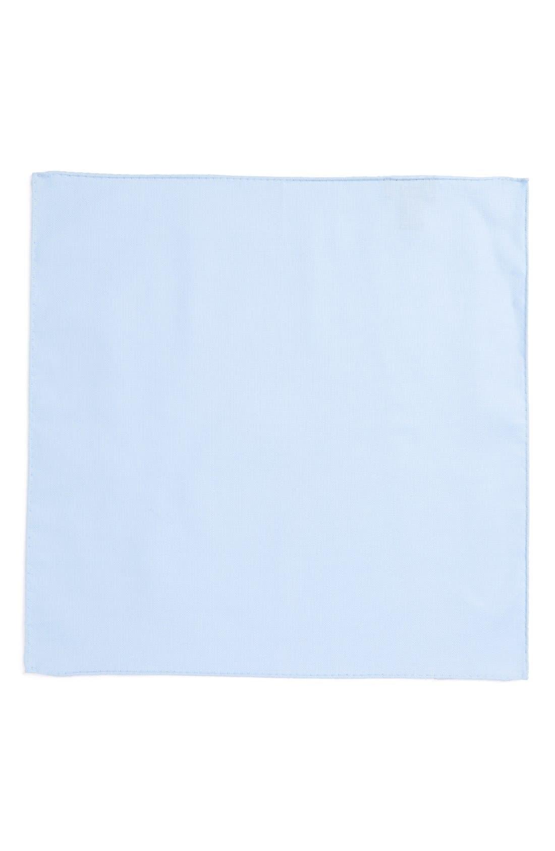 Solid Cotton Pocket Square,                             Alternate thumbnail 2, color,                             Blue