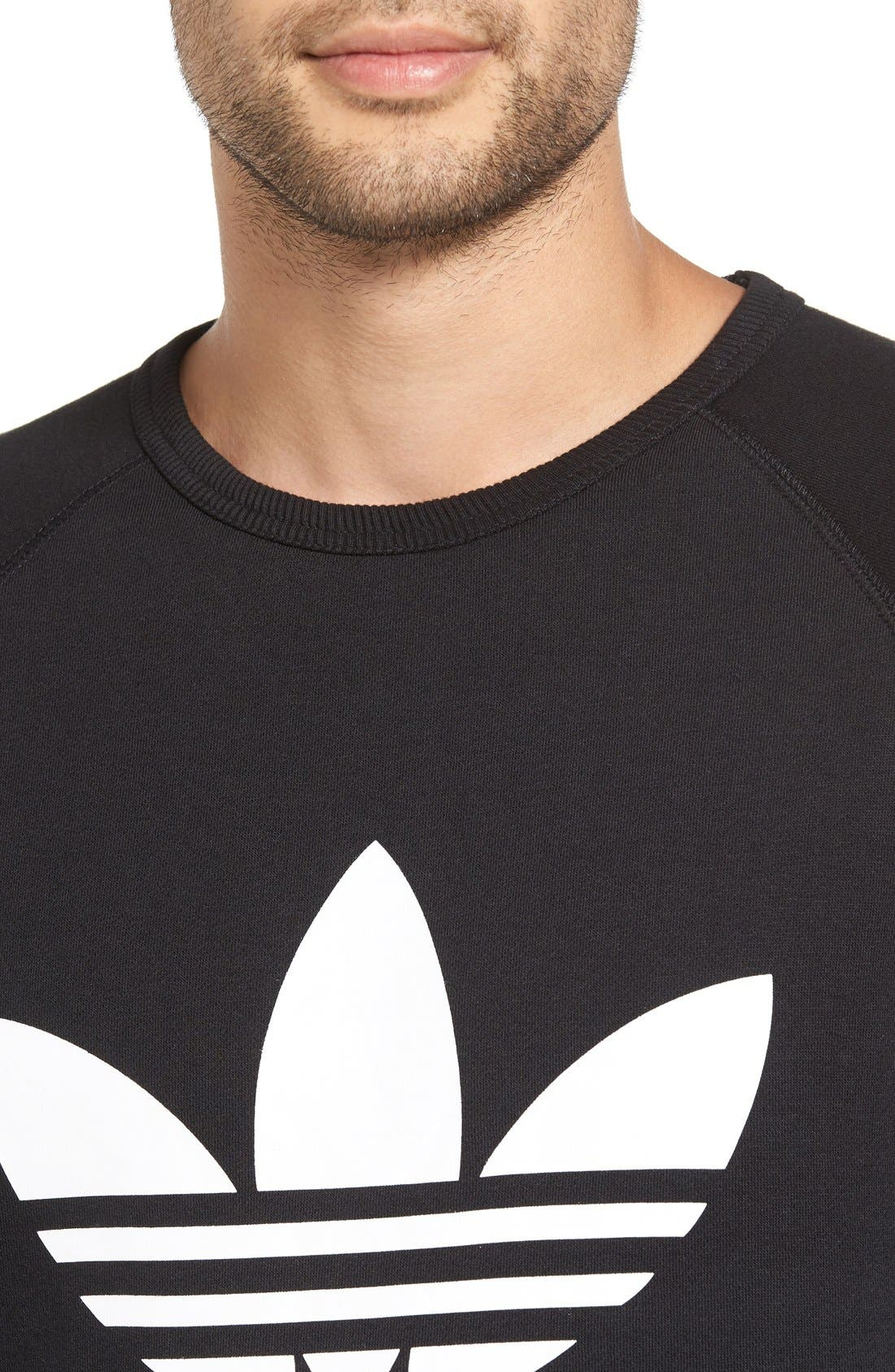 Slim Fit Trefoil Logo Crewneck Sweatshirt,                             Alternate thumbnail 4, color,                             Black