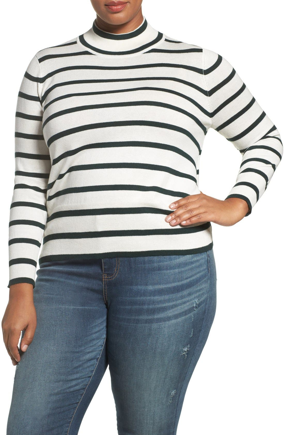 Main Image - Melissa McCarthy Seven7 Stripe Mock Neck Sweater (Plus Size)