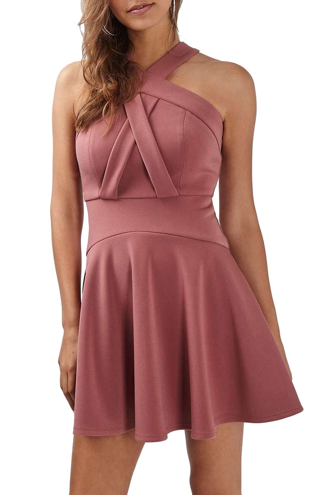 Alternate Image 1 Selected - Topshop Cross Front Skater Dress