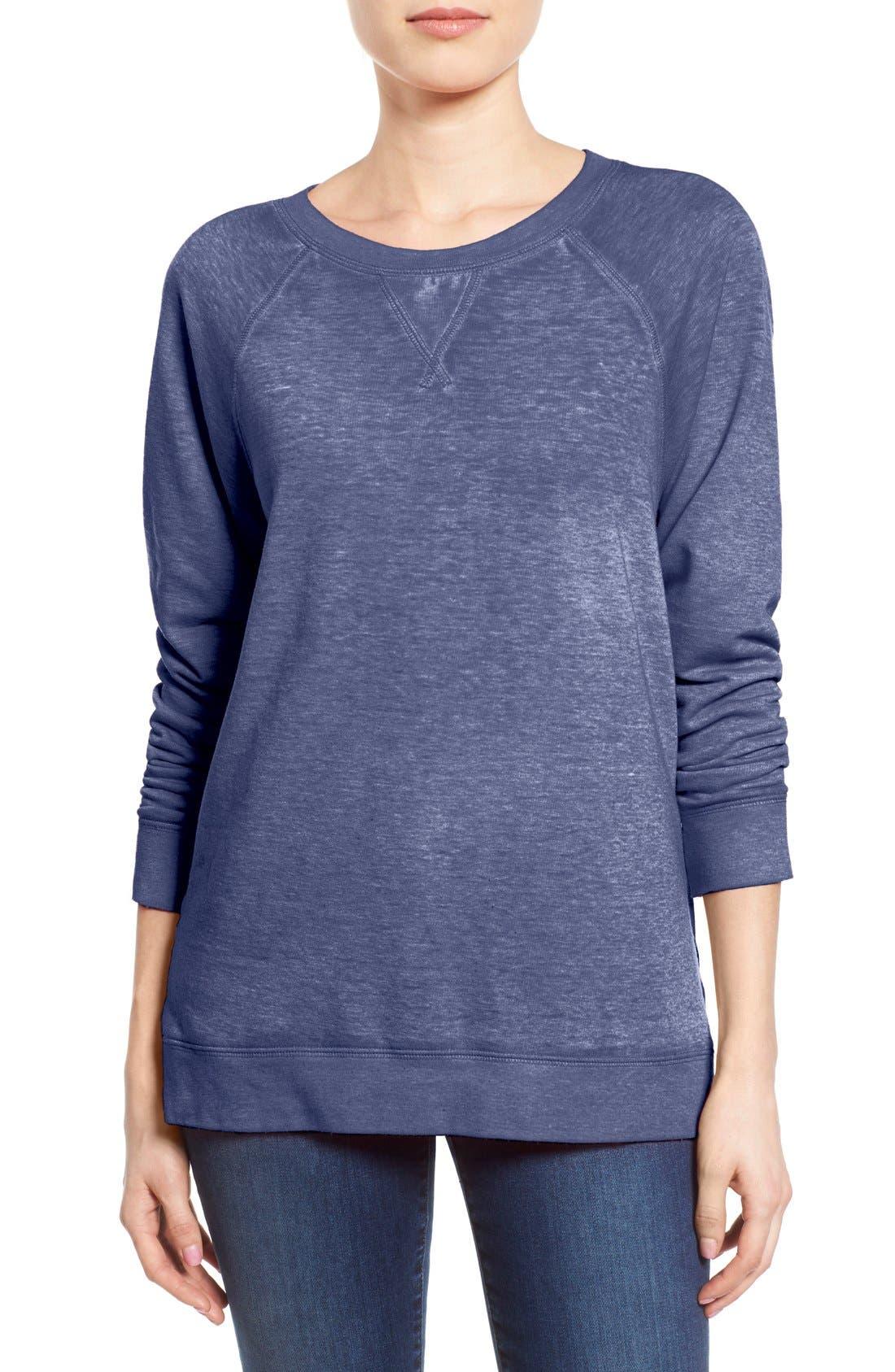 Caslon® Burnout Sweatshirt (Regular & Petite)