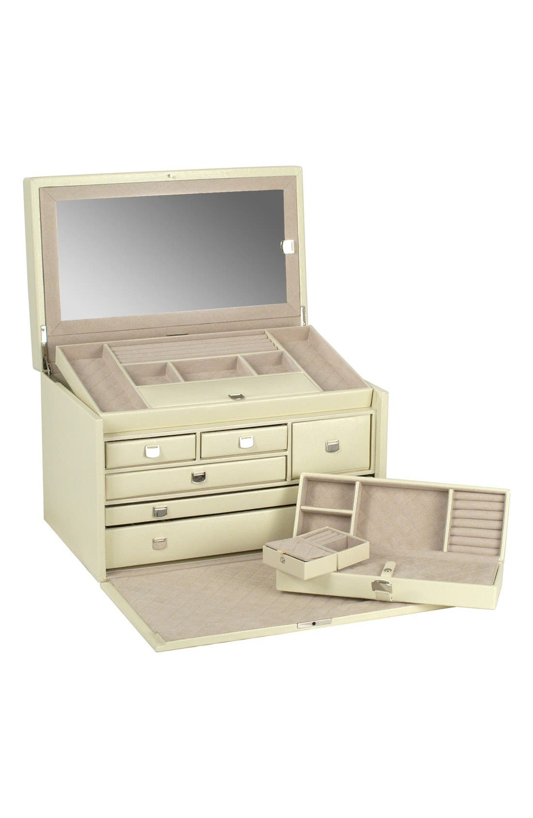 London Large Jewelry Box,                             Alternate thumbnail 2, color,                             Cream