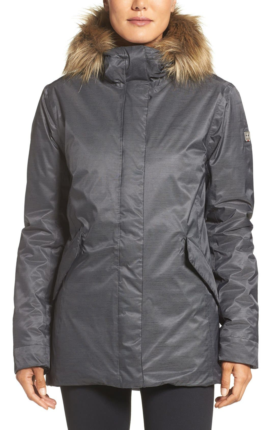 Alternate Image 1 Selected - Helly Hansen Hilton Waterproof Parka with Faux Fur Trim