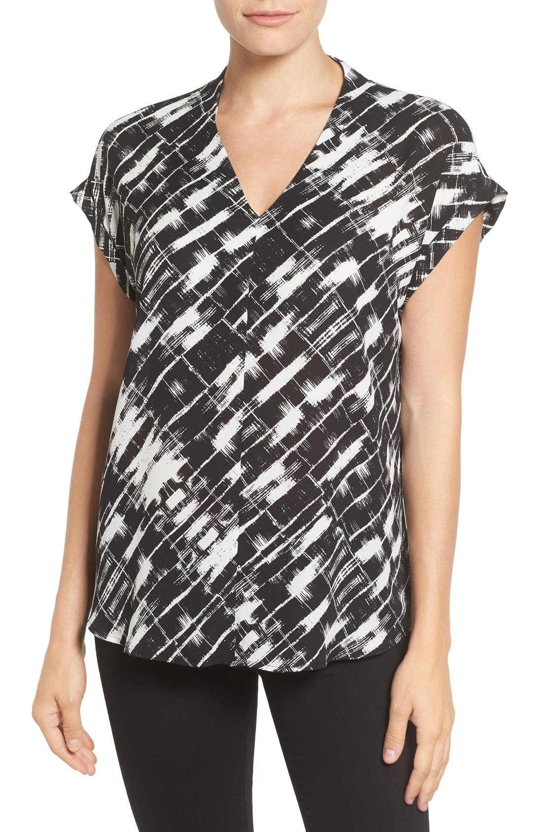 Main Image - Pleione High/Low V-Neck Mixed Media Top (Regular & Petite)
