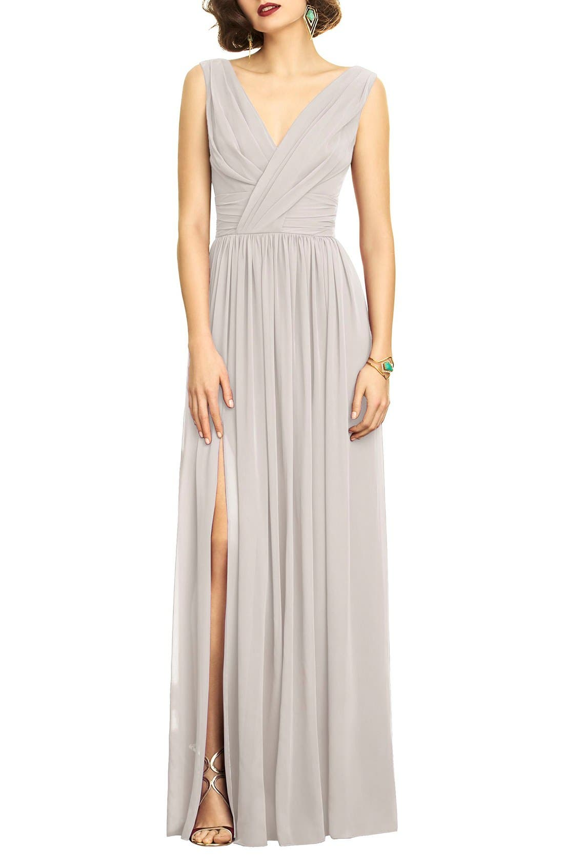 Alternate Image 1 Selected - Dessy Collection Surplice Ruched Chiffon Gown