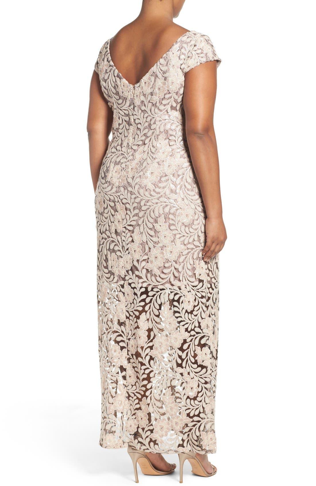 Alternate Image 2  - Brianna Sequin Lace Column Gown (Plus Size)