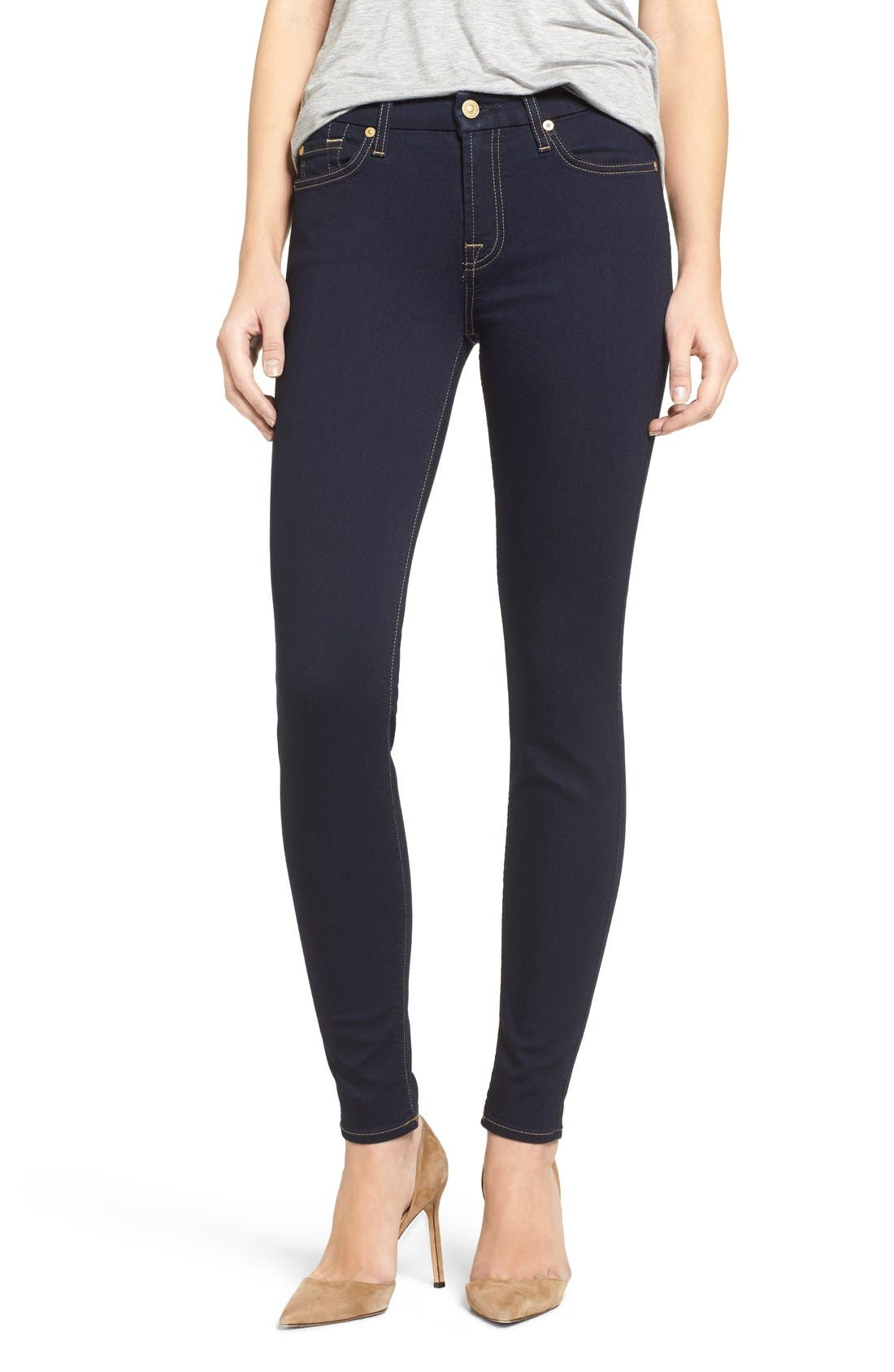 Main Image - 7 For All Mankind® 'b(air)' Skinny Jeans (Rinsed Indigo)