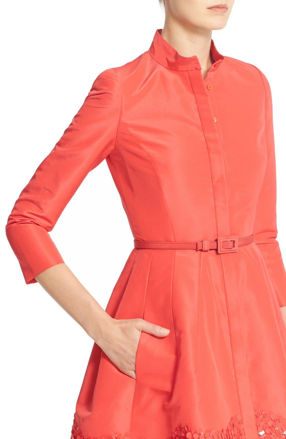 Alternate Image 5  - Carolina Herrera Embellished Belted Silk Faille A-Line Shirtdress