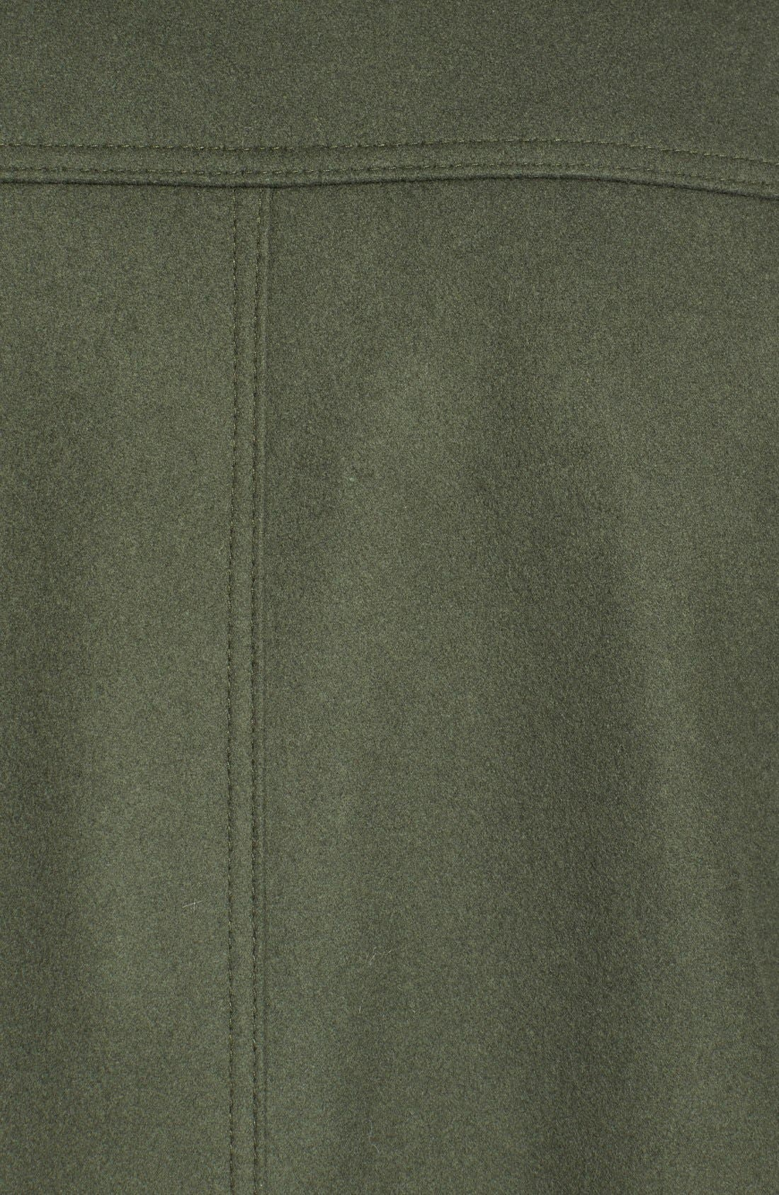 Funnel Neck Wool Blend Coat,                             Alternate thumbnail 6, color,                             Moss